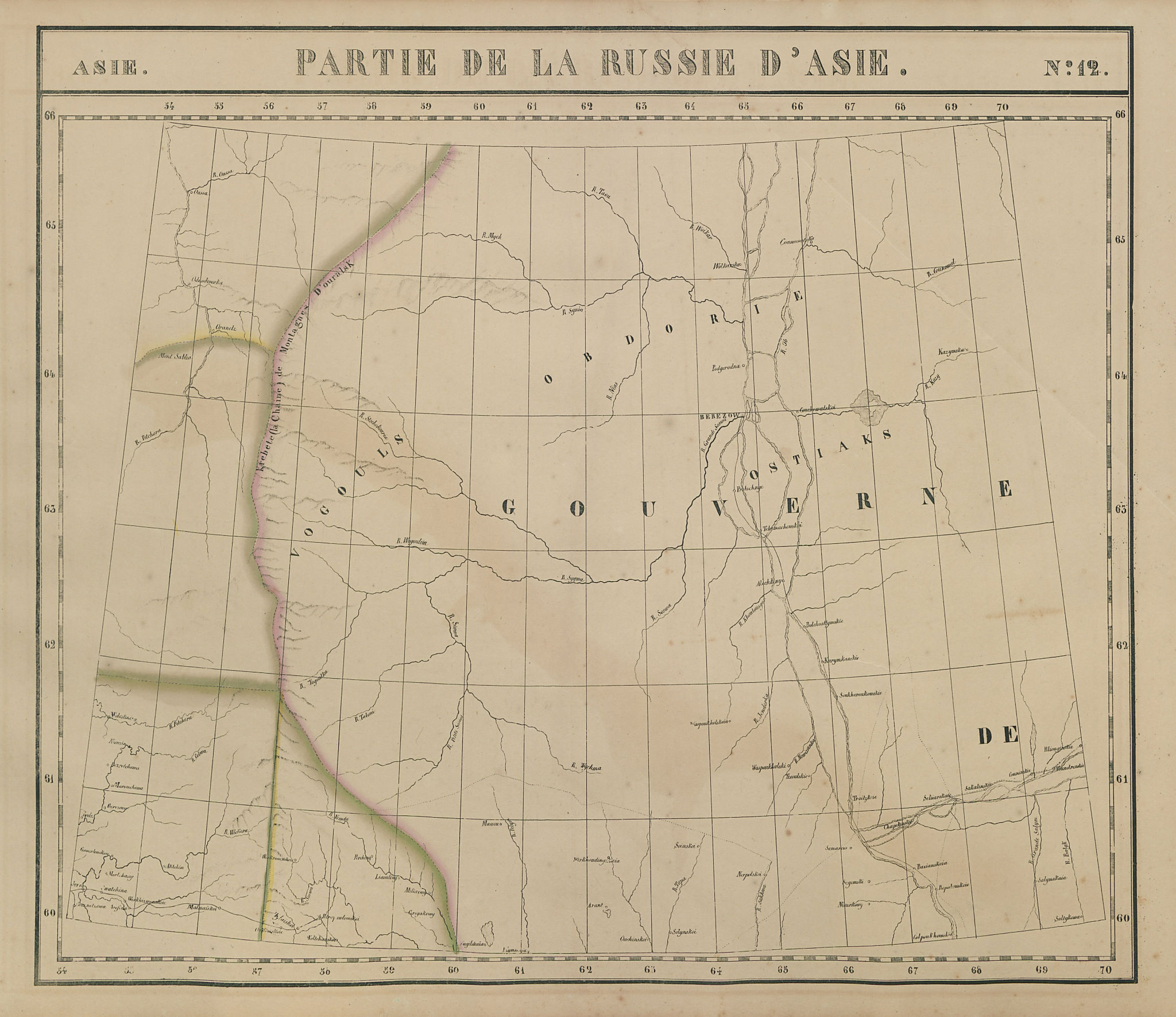 Russie d'Asie #12 West Siberia. Russia. Khanty-Mansi Komi. VANDERMAELEN 1827 map