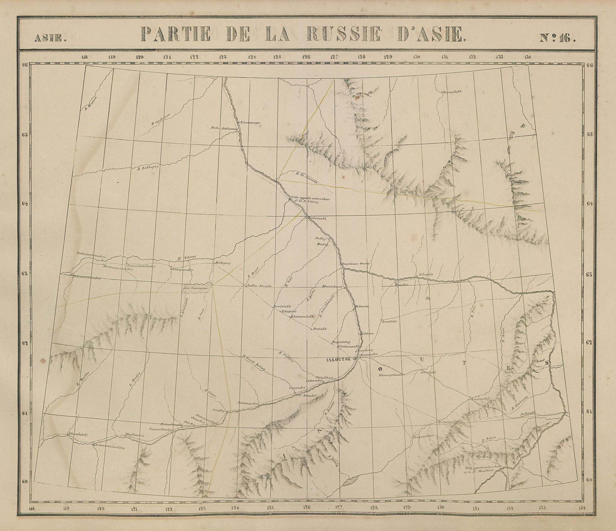 Russie d'Asie #16 Russia. Lena river basin. Yakutsk Sakha. VANDERMAELEN 1827 map
