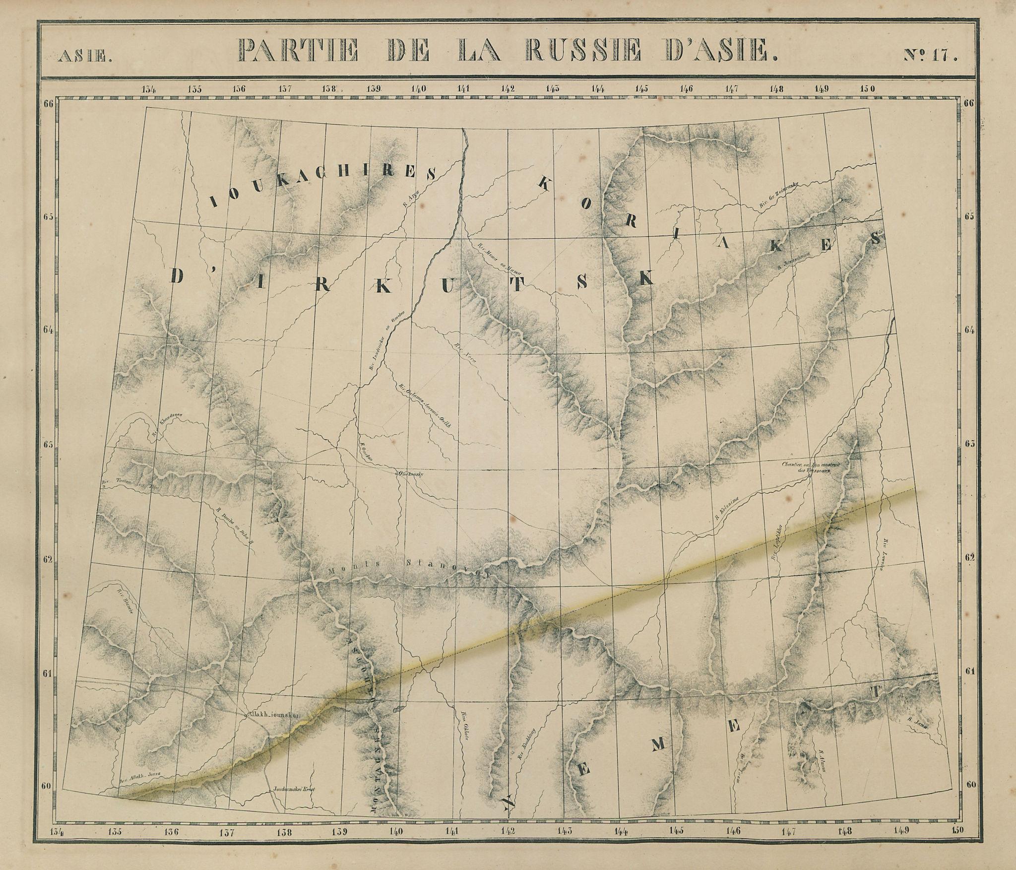 Russie d'Asie #17 Russia. East Siberia. NE Sakha. Magadan VANDERMAELEN 1827 map