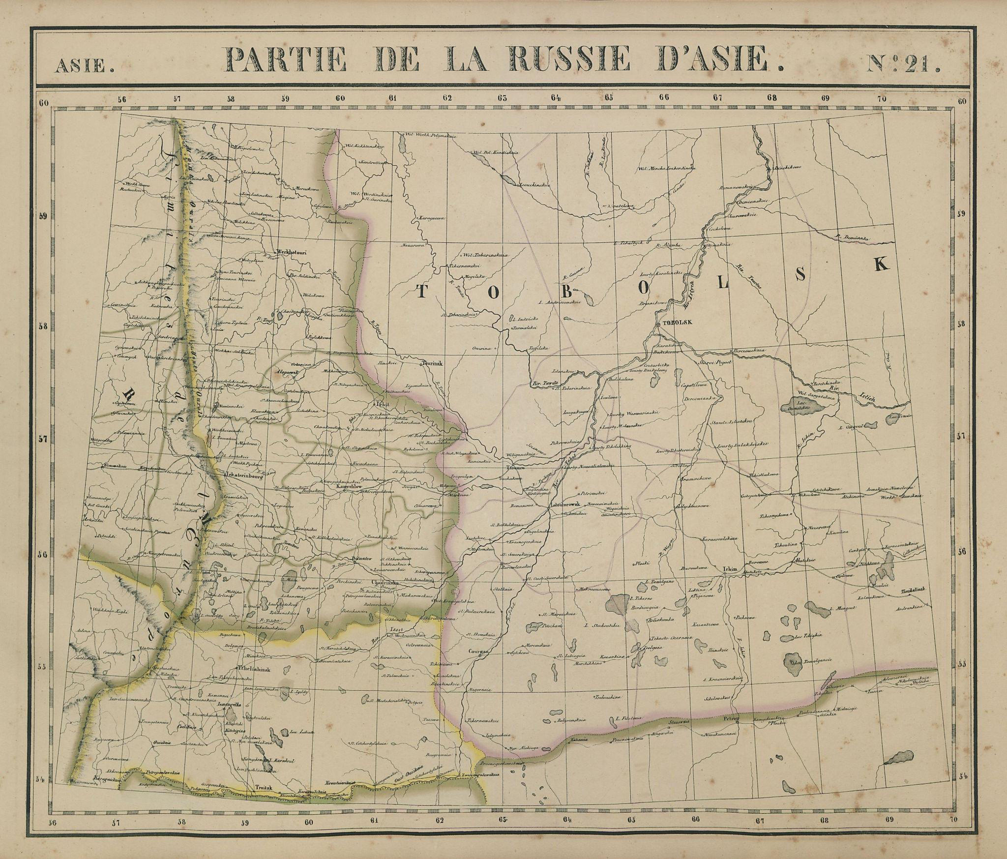 Russie d'Asie #21 Russia. Kurgan Tyumen Sverdlovsk Tobolsk VANDERMAELEN 1827 map