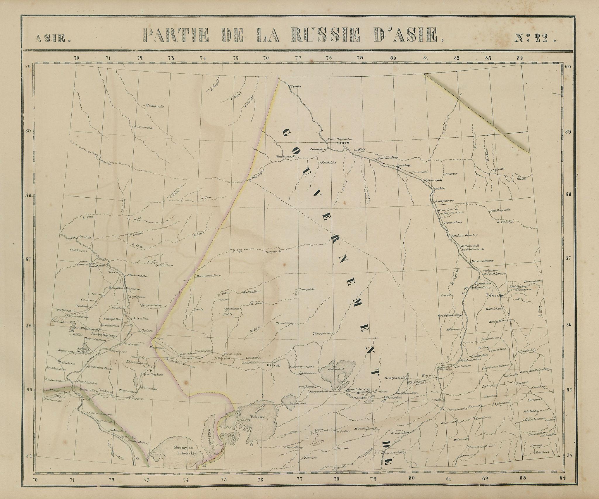 Russie d'Asie #22 Russia. Tomsk Omsk Novosibirsk. Ob River VANDERMAELEN 1827 map