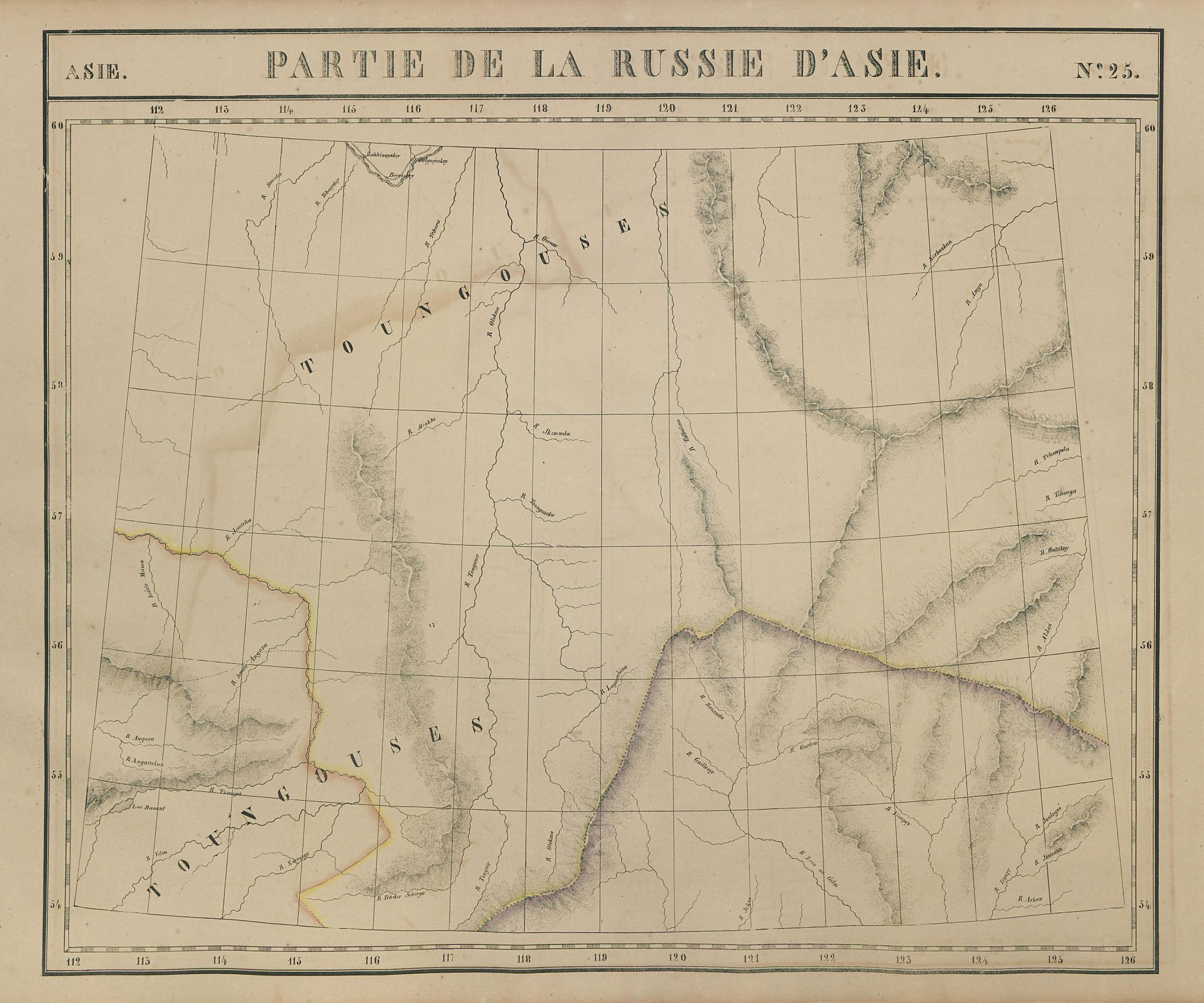 Russie d'Asie #25 Russia. East Siberia. Sakha Irkutsk Amur VANDERMAELEN 1827 map