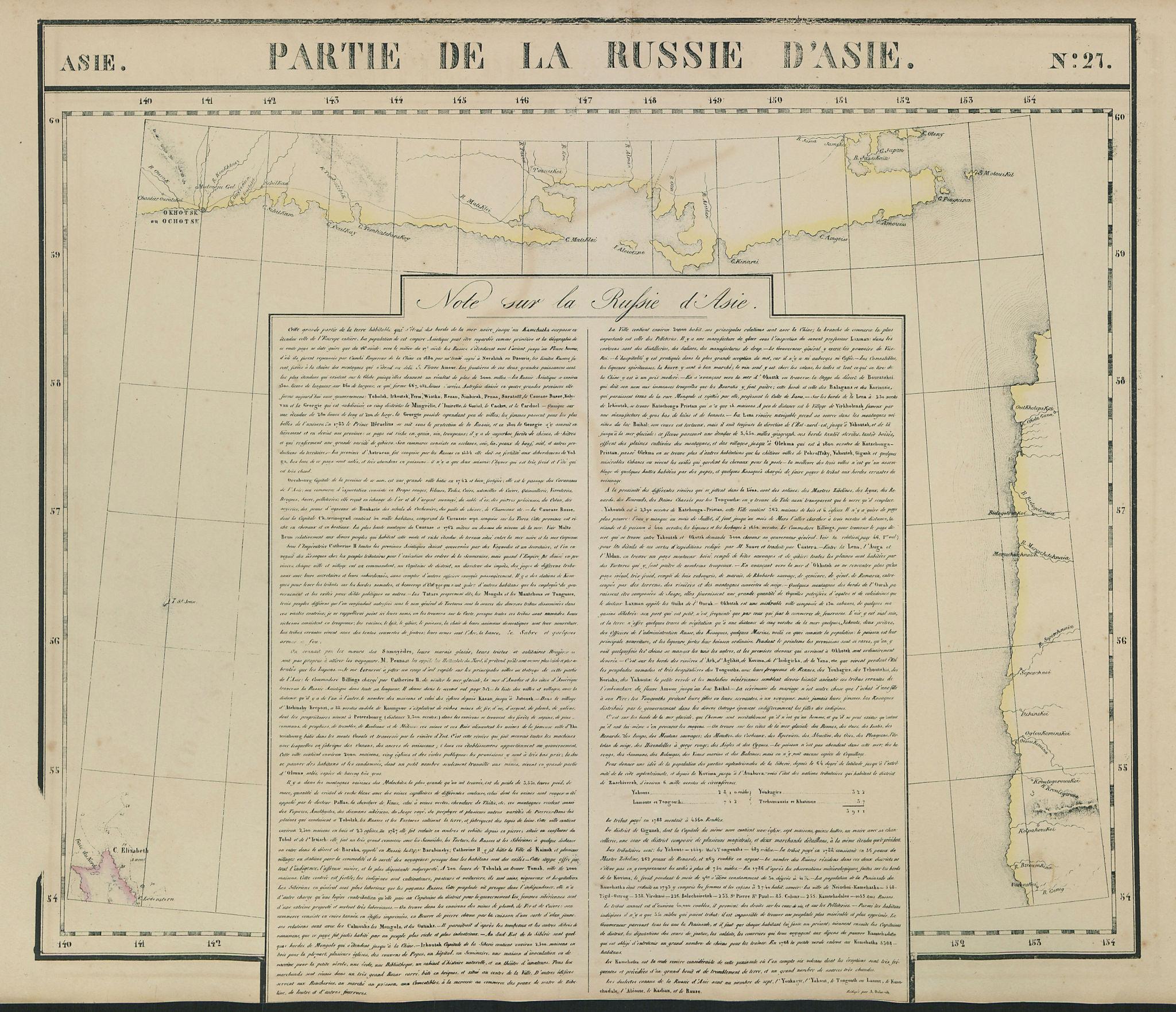 Russie d'Asie #27 Russia. West Kamchatka. Magadan/Khabarov VANDERMAELEN 1827 map
