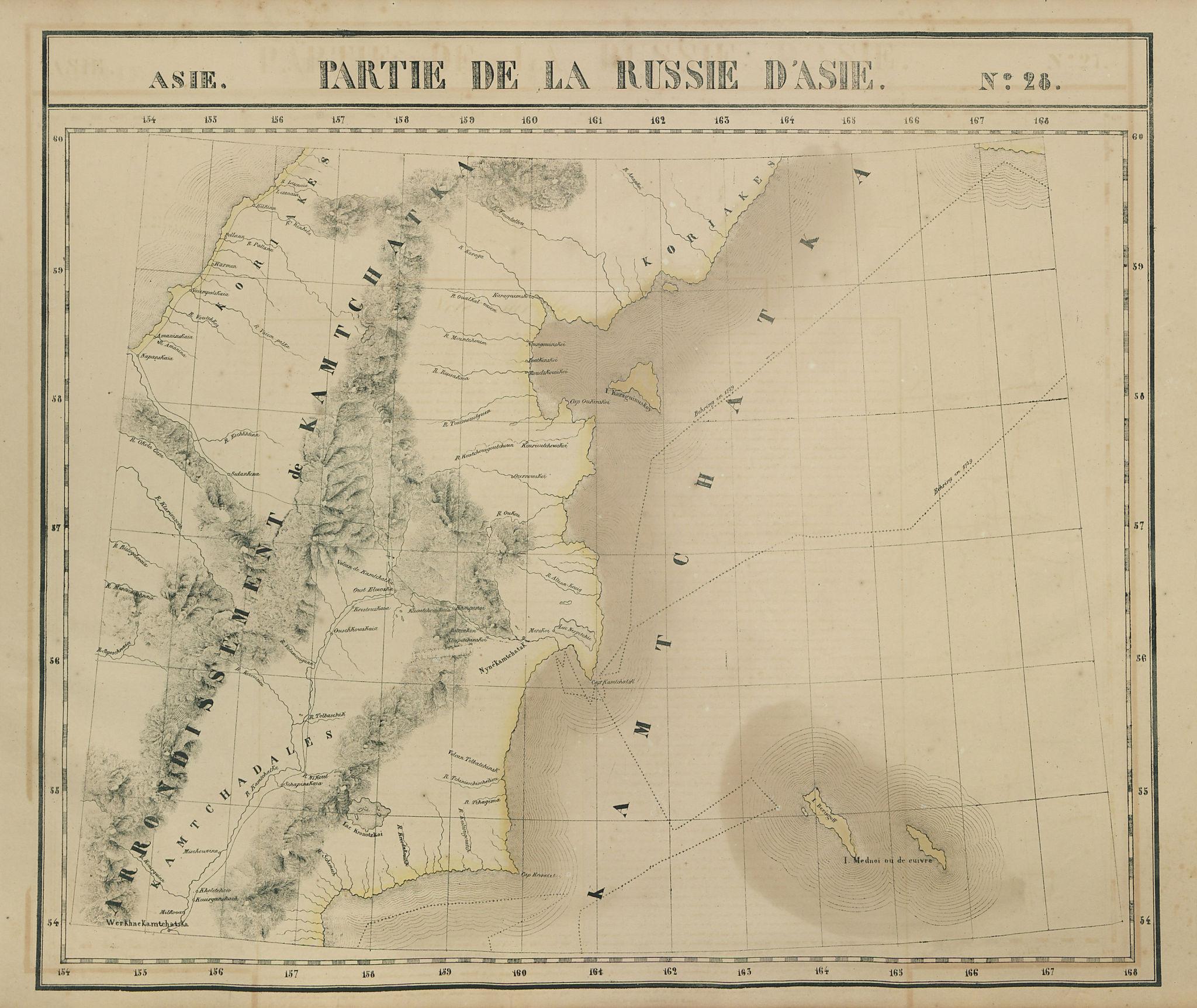 Russie d'Asie #28 Eastern Kamchatka Peninsula. Russia. VANDERMAELEN 1827 map