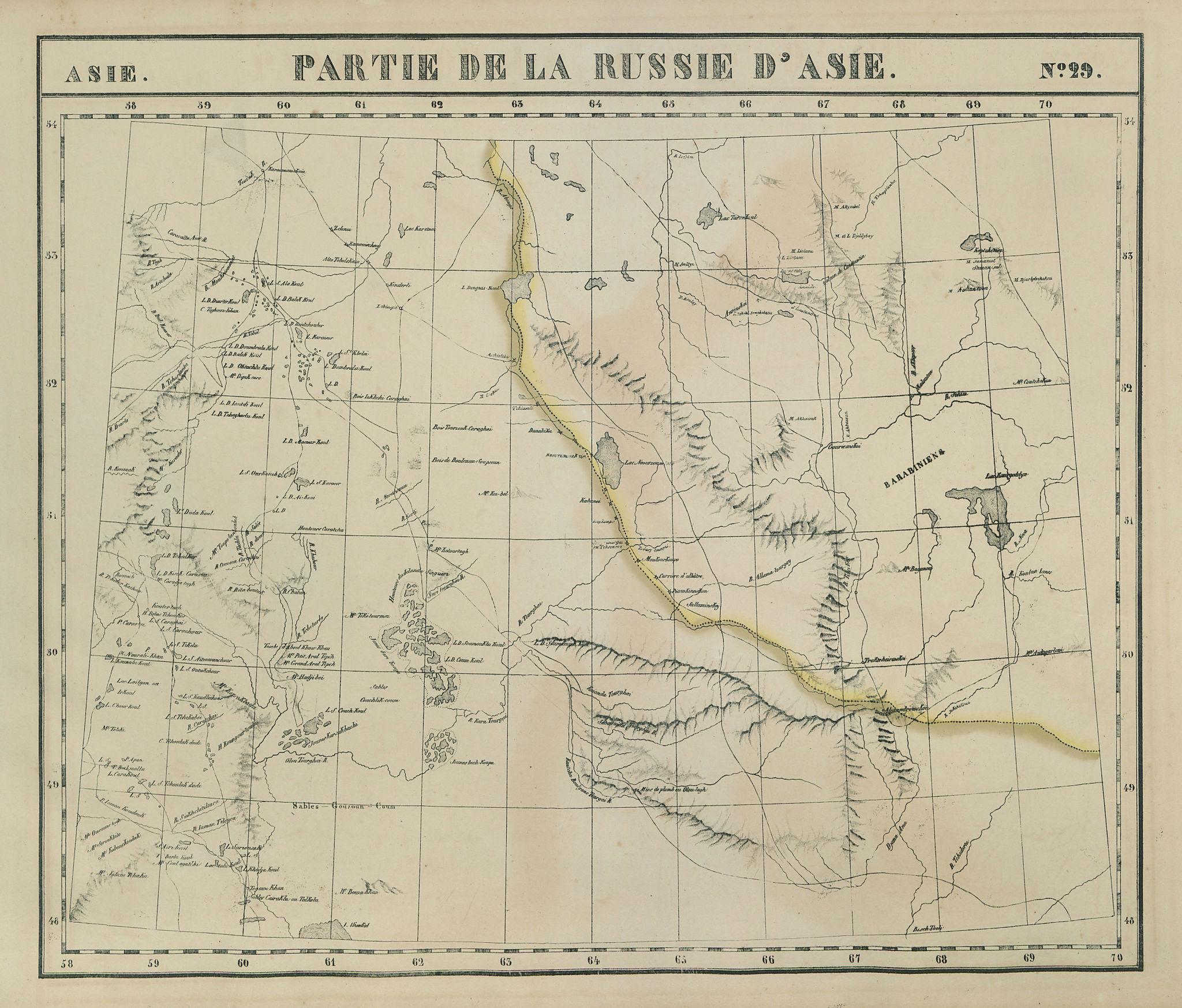 Russie d'Asie 29 NW Kazakhstan Orenburg Chelyabinsk Russia VANDERMAELEN 1827 map