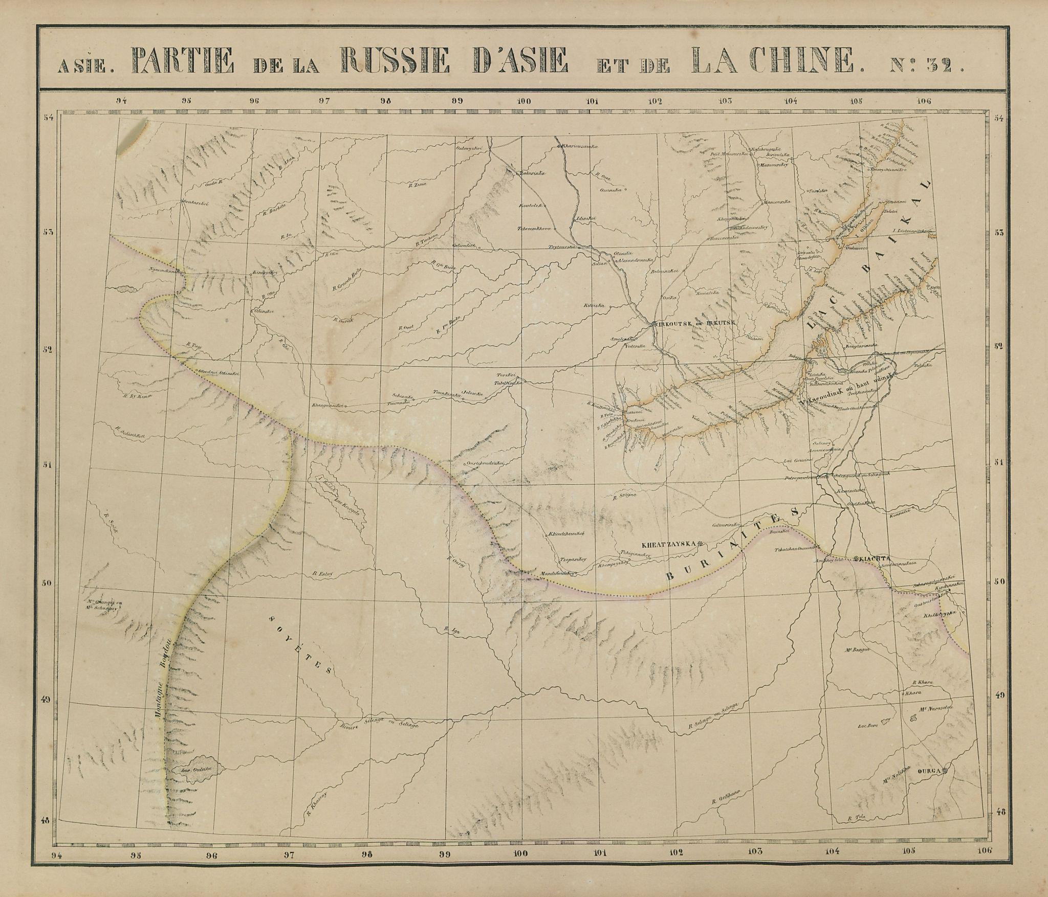 Russie d'Asie & Chine #32 Lake Baikal. Russia Mongolia VANDERMAELEN 1827 map