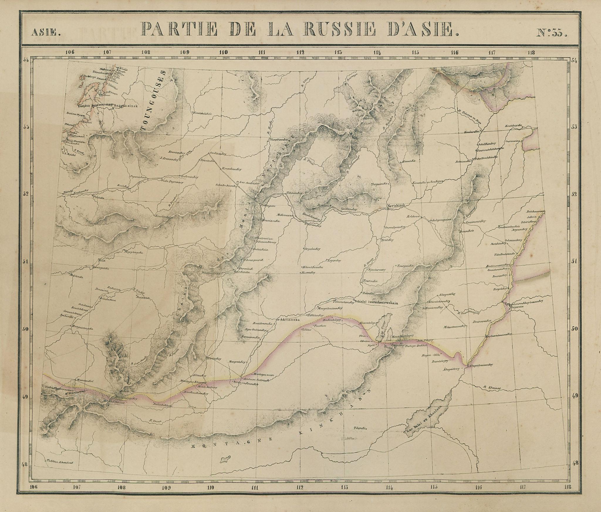 Russie d'Asie #33 Russia Mongolia. Buryatia Zabaykalsk. VANDERMAELEN 1827 map