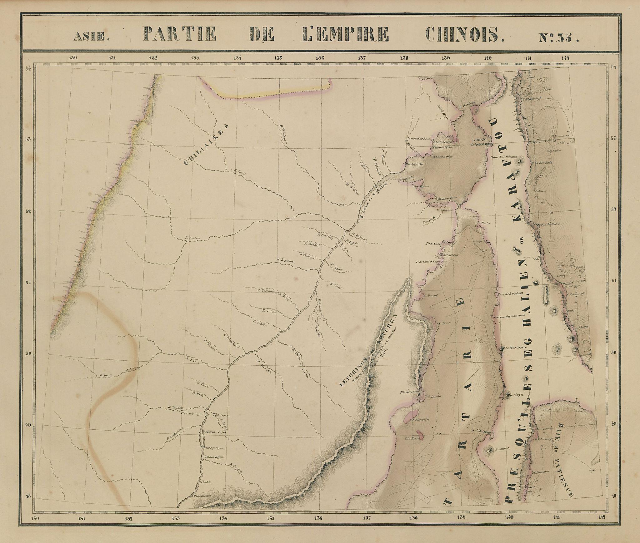 Asie. Empire Chinois #35 Russian Far East. Amur Sakhalin. VANDERMAELEN 1827 map