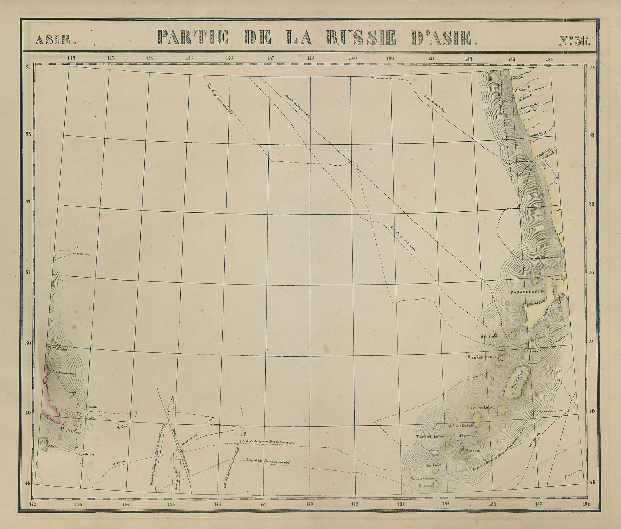 Asie. Russie d'Asie #36 Russia. SW Kamchatka Kuril islands VANDERMAELEN 1827 map