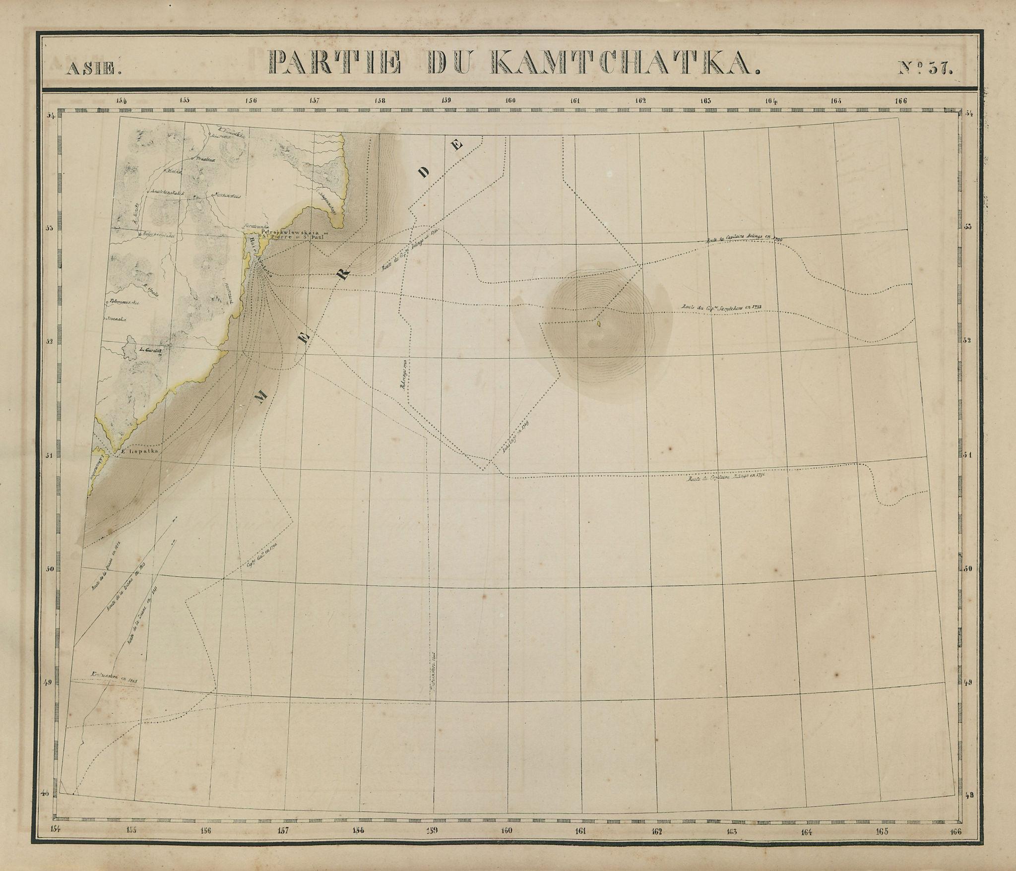 Asie. #37 Kamtchatka south-east coast Russia Petropavlovsk VANDERMAELEN 1827 map
