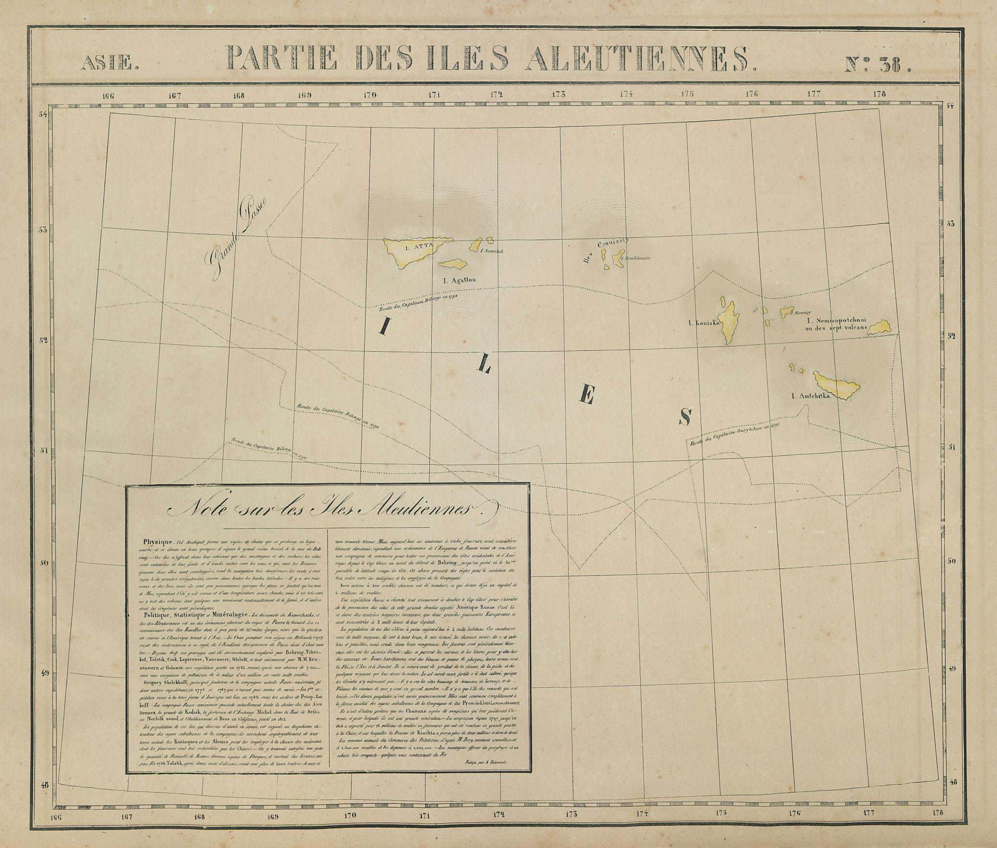 Asie. Iles Aleutiennes #38 Western Aleutians Alaska. VANDERMAELEN 1827 old map