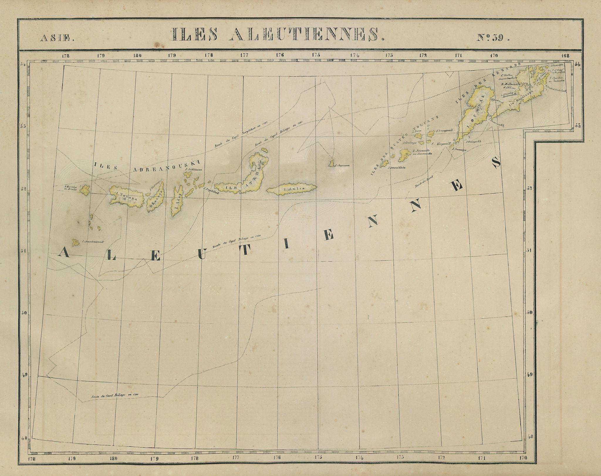Asie. Iles Aleutiennes #39 Aleutian Islands, Alaska. VANDERMAELEN 1827 old map