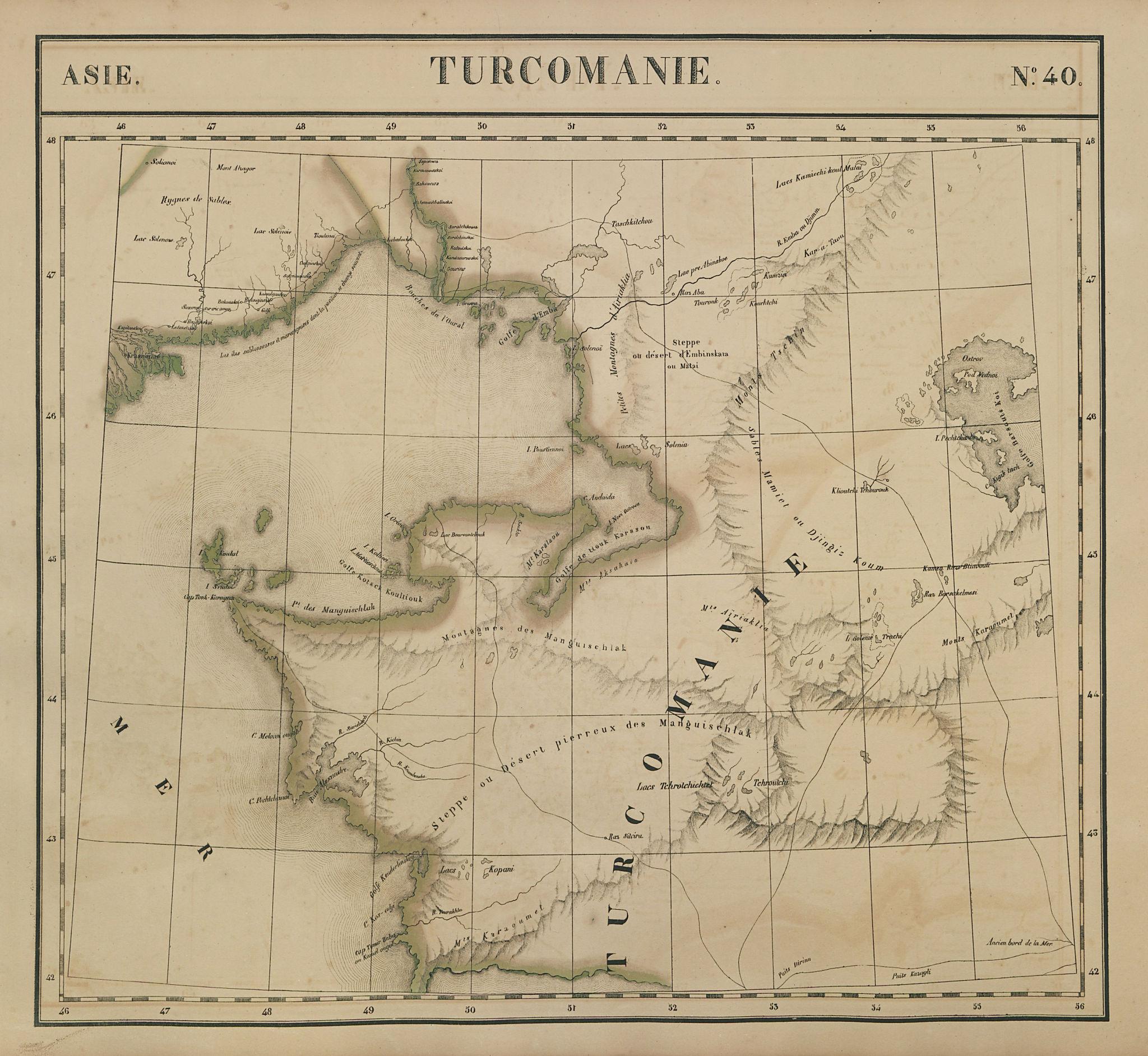 Asie. Turcomanie #40 Caspian Sea. Kazakhstan Uzbekistan. VANDERMAELEN 1827 map