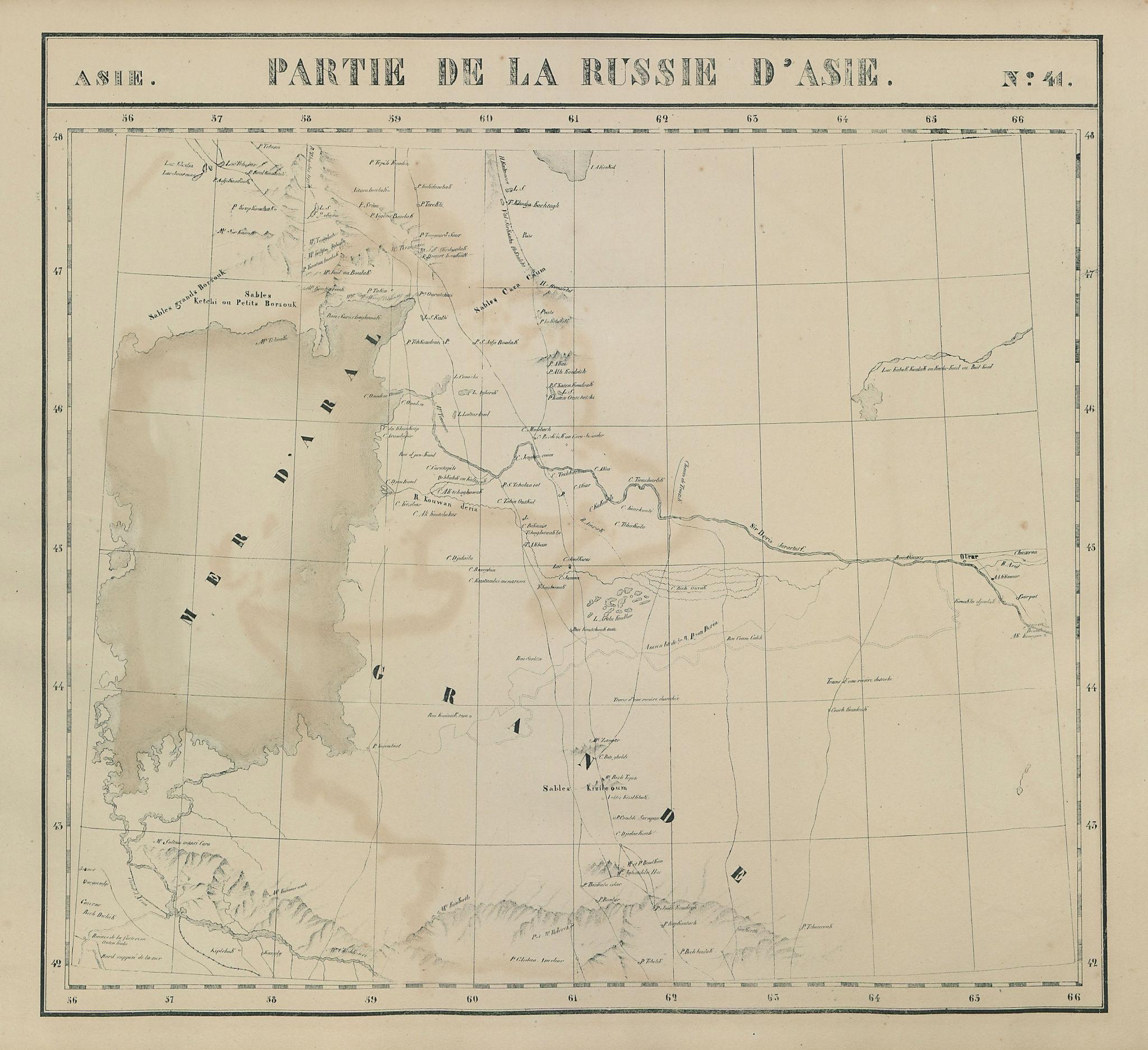 Asie. Russie d'Asie #41 Aral Sea. Uzbekistan Kazakhstan. VANDERMAELEN 1827 map