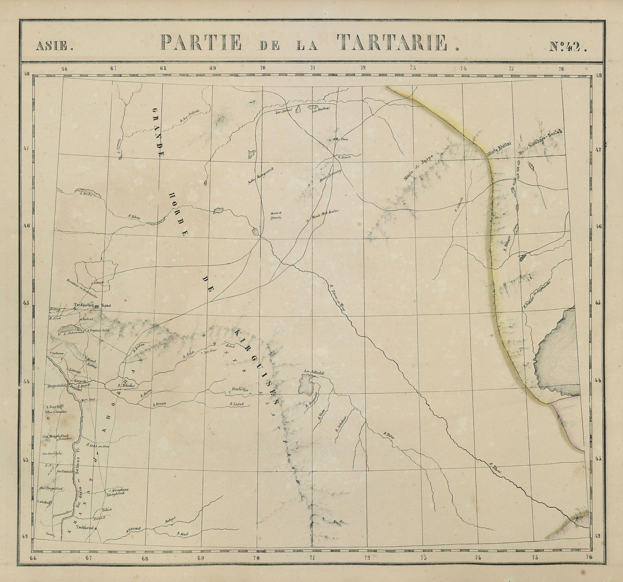 Asie. Tartarie #42 South Kazakhstan. North Kyrgyzstan. VANDERMAELEN 1827 map
