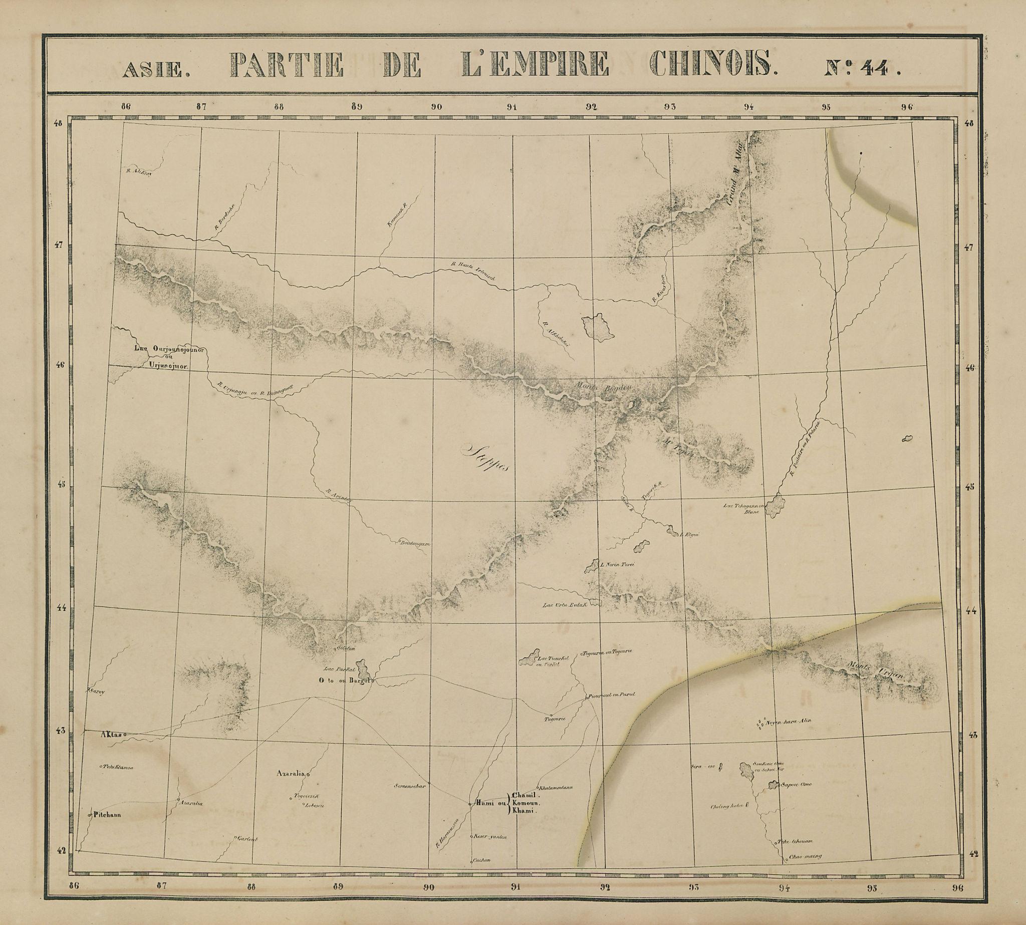 Asie. Empire Chinois #44 NW Xinjiang, China & SW Mongolia. VANDERMAELEN 1827 map