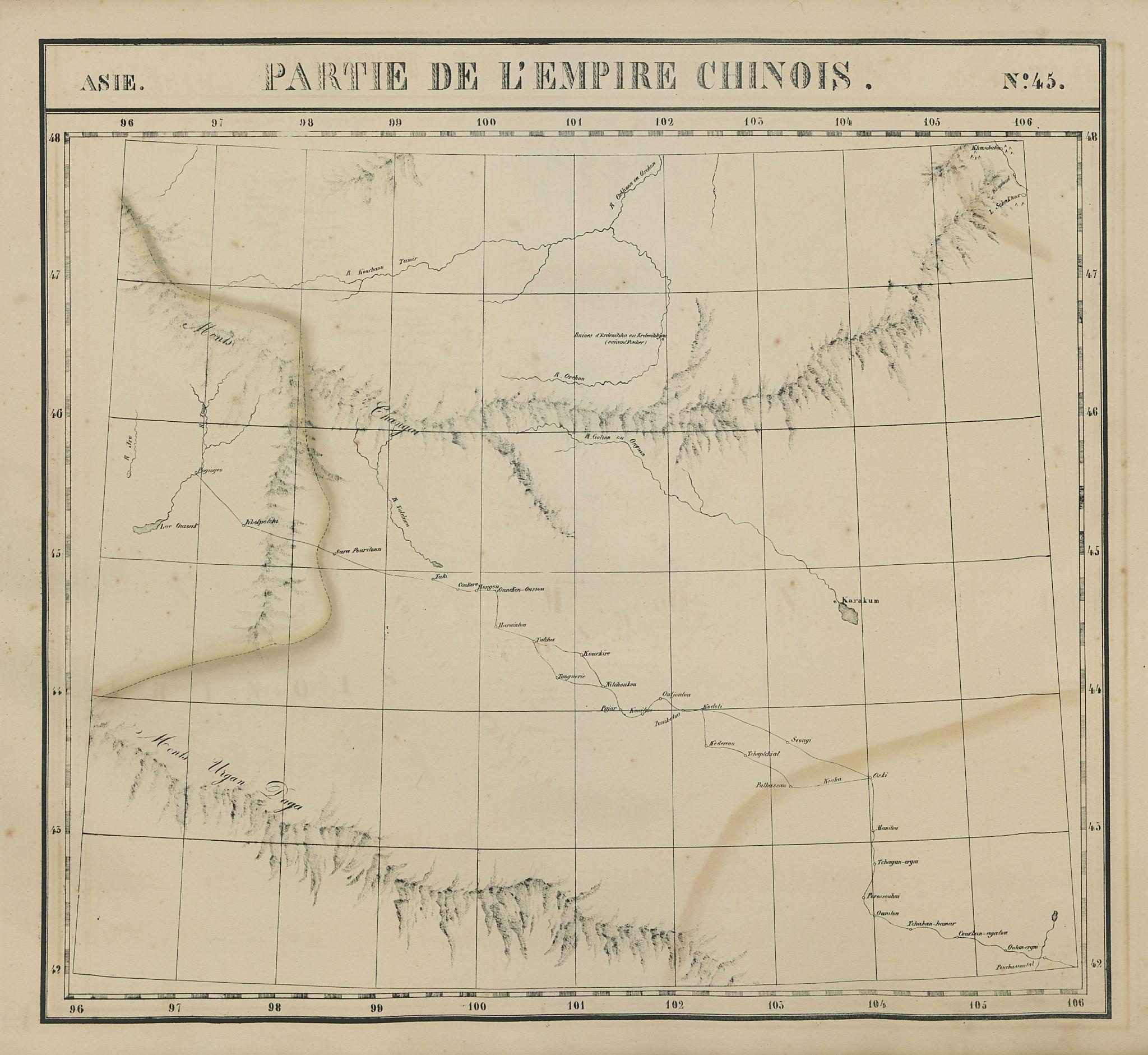Asie. Empire Chinois #45 Southern Mongolia. Gobi desert. VANDERMAELEN 1827 map