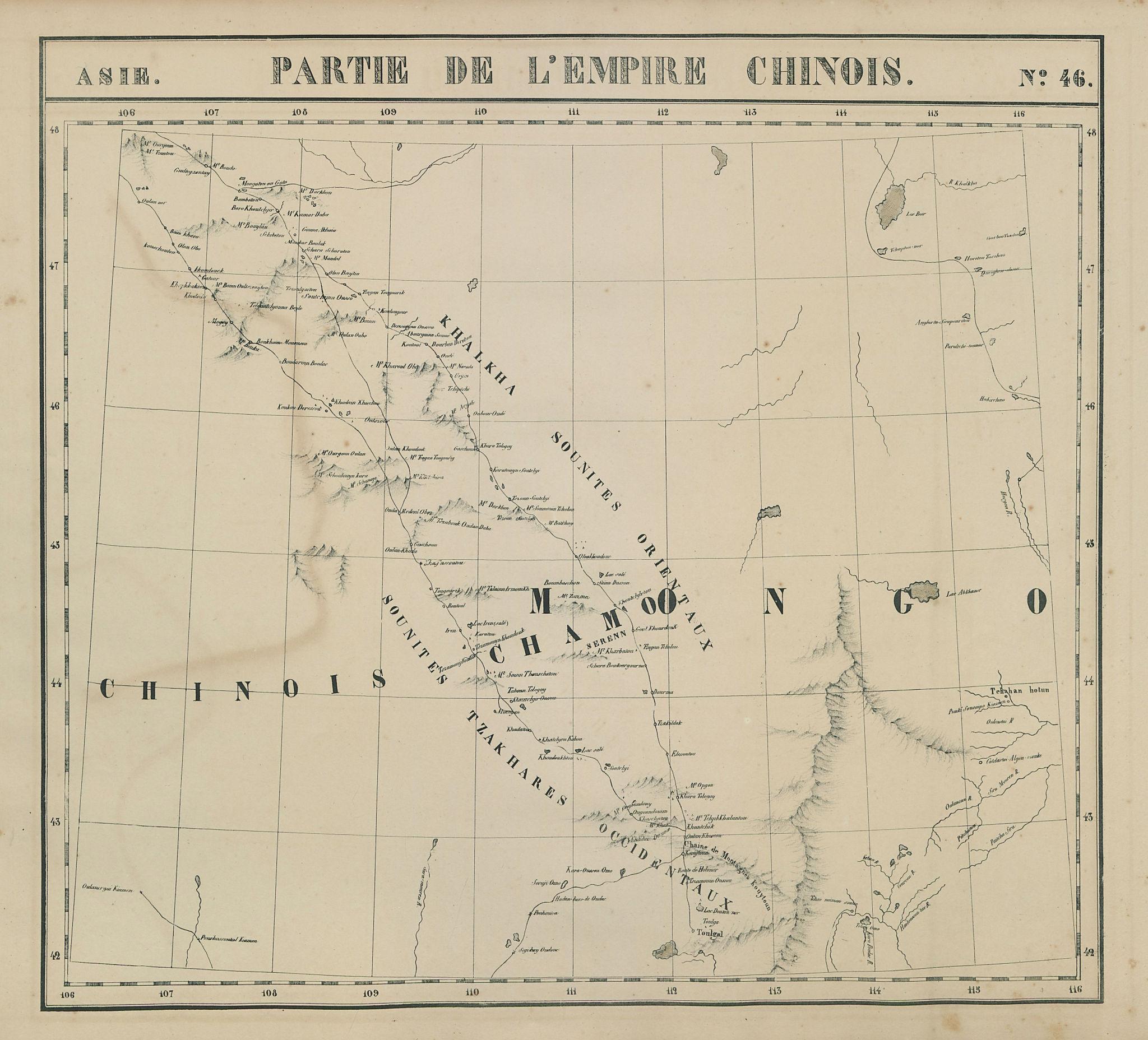 Asie. Empire Chinois #46 China Mongolia/Inner Mongolia. VANDERMAELEN 1827 map