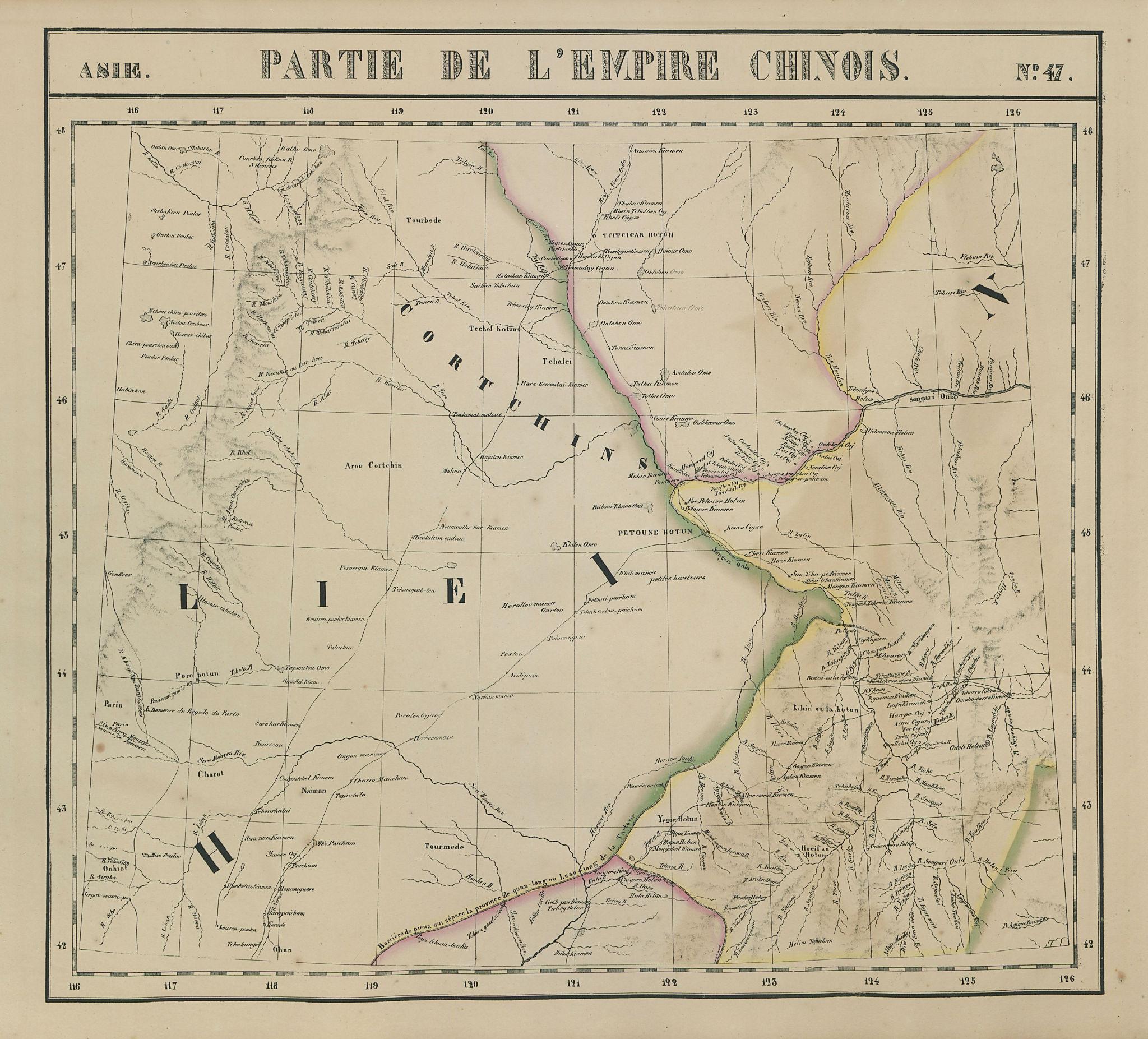 Asie. Empire Chinois #47 China Mongolia Heilongjiang Jilin VANDERMAELEN 1827 map