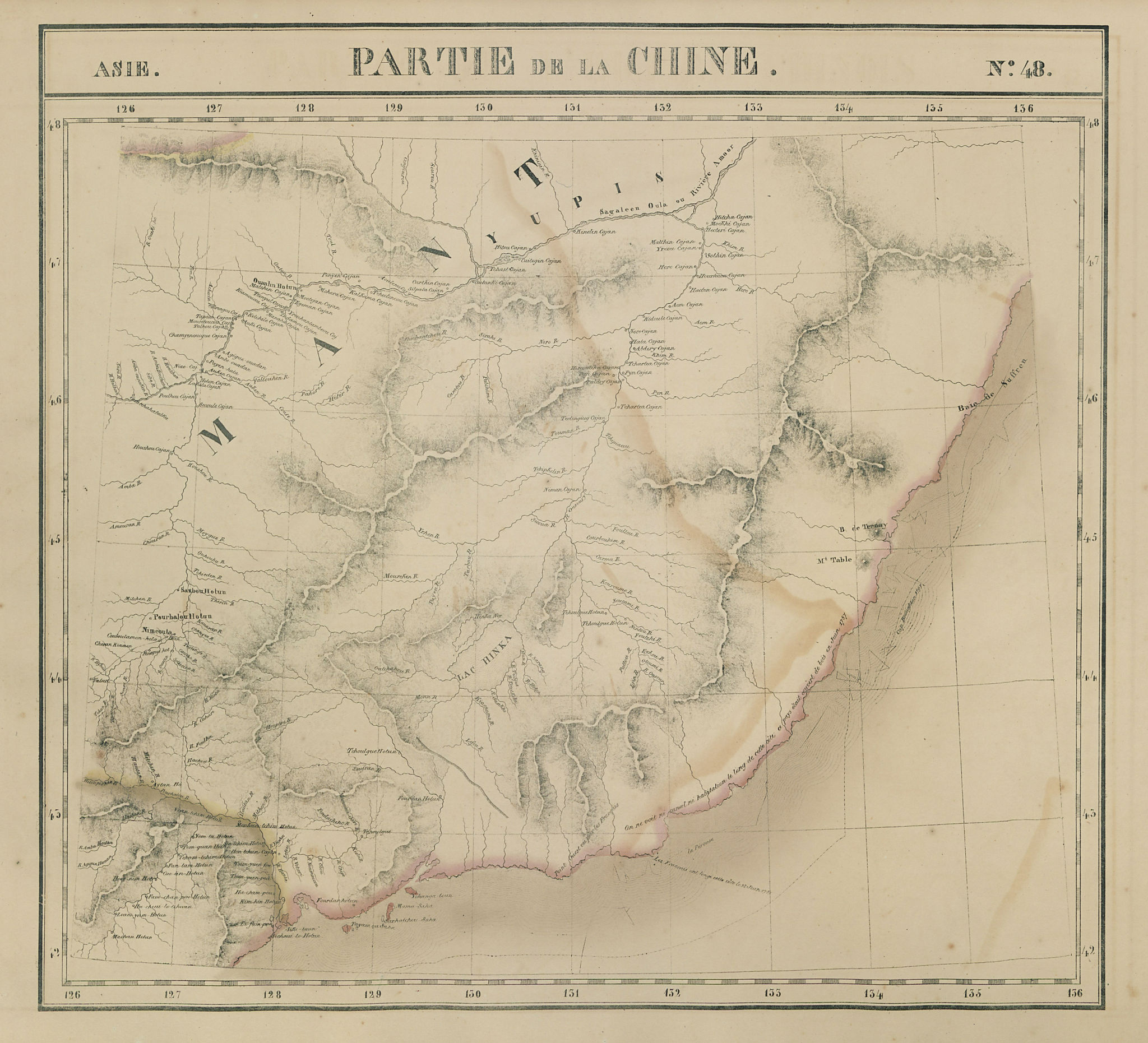 Asie. Chine #48 China Heilongjiang. Russia Primorsky Krai. VANDERMAELEN 1827 map