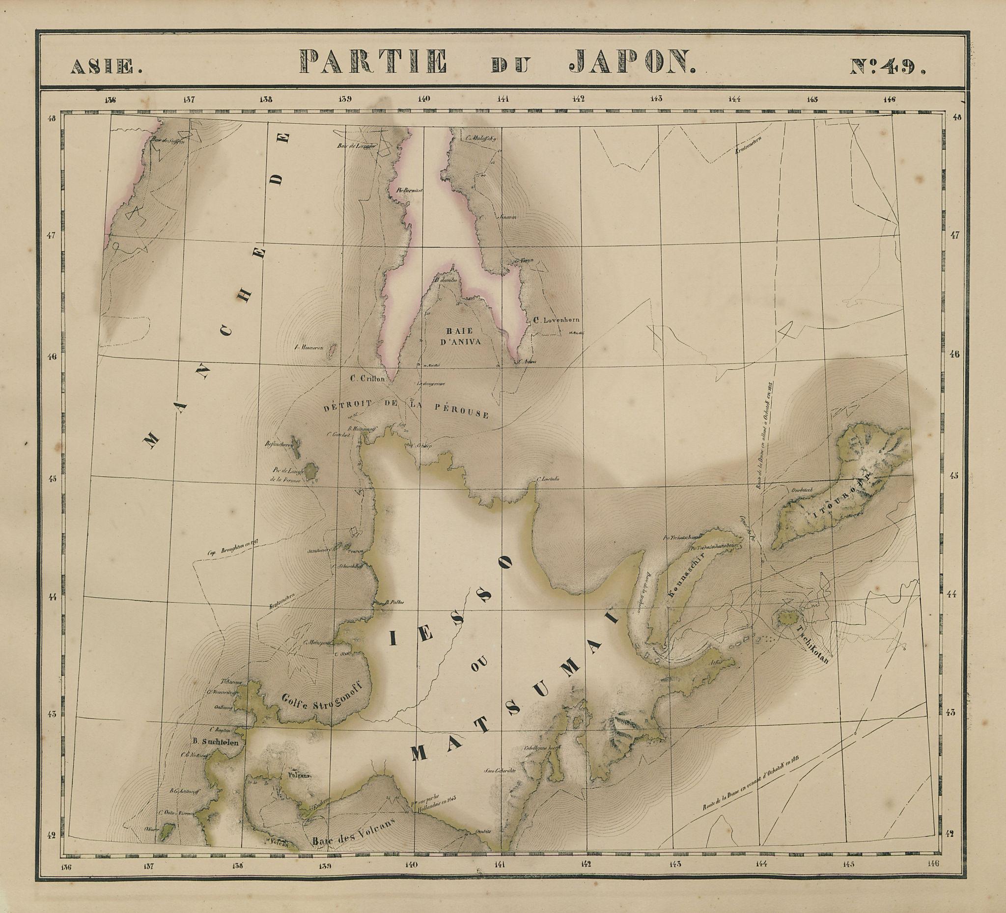 Asie. Japon #49 Japan Hokkaido. South Sakhalin. Russia. VANDERMAELEN 1827 map