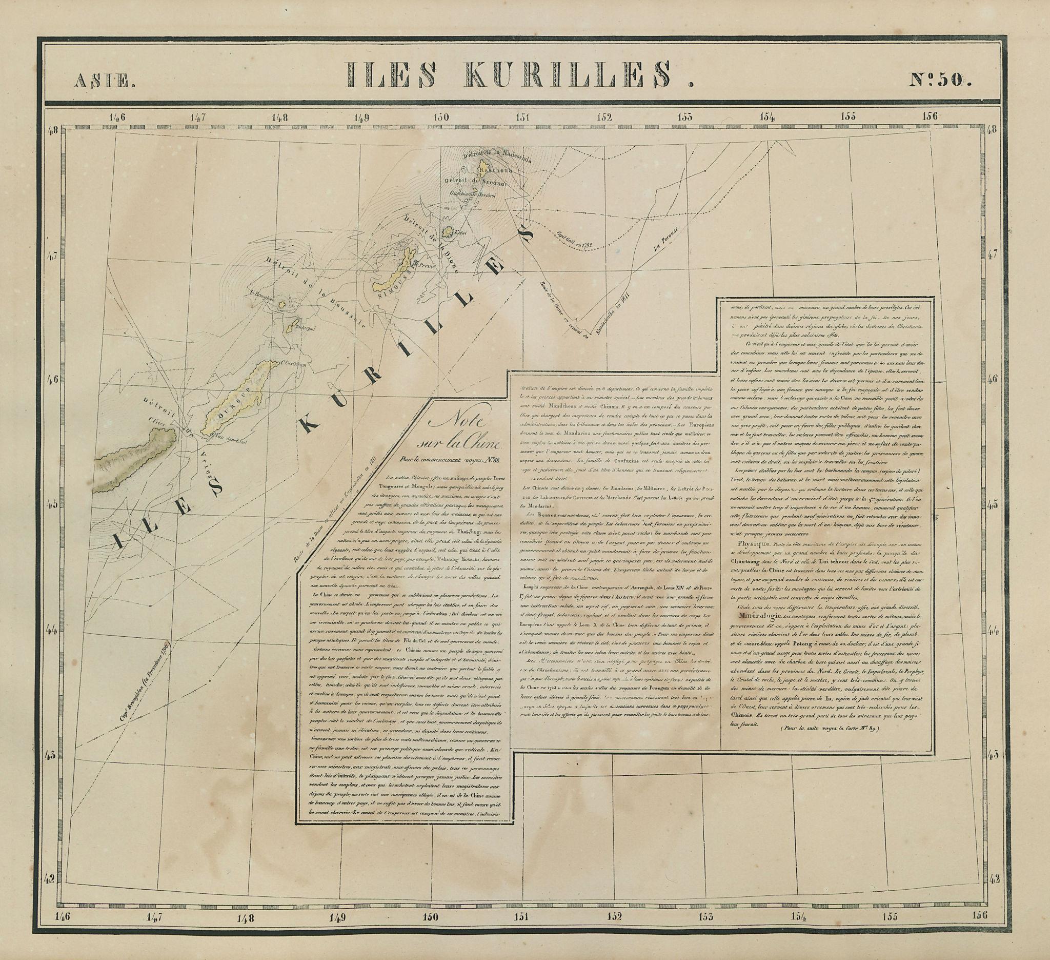 Asie. Iles Kurilles #50 Southern Kurile islands. Russia. VANDERMAELEN 1827 map