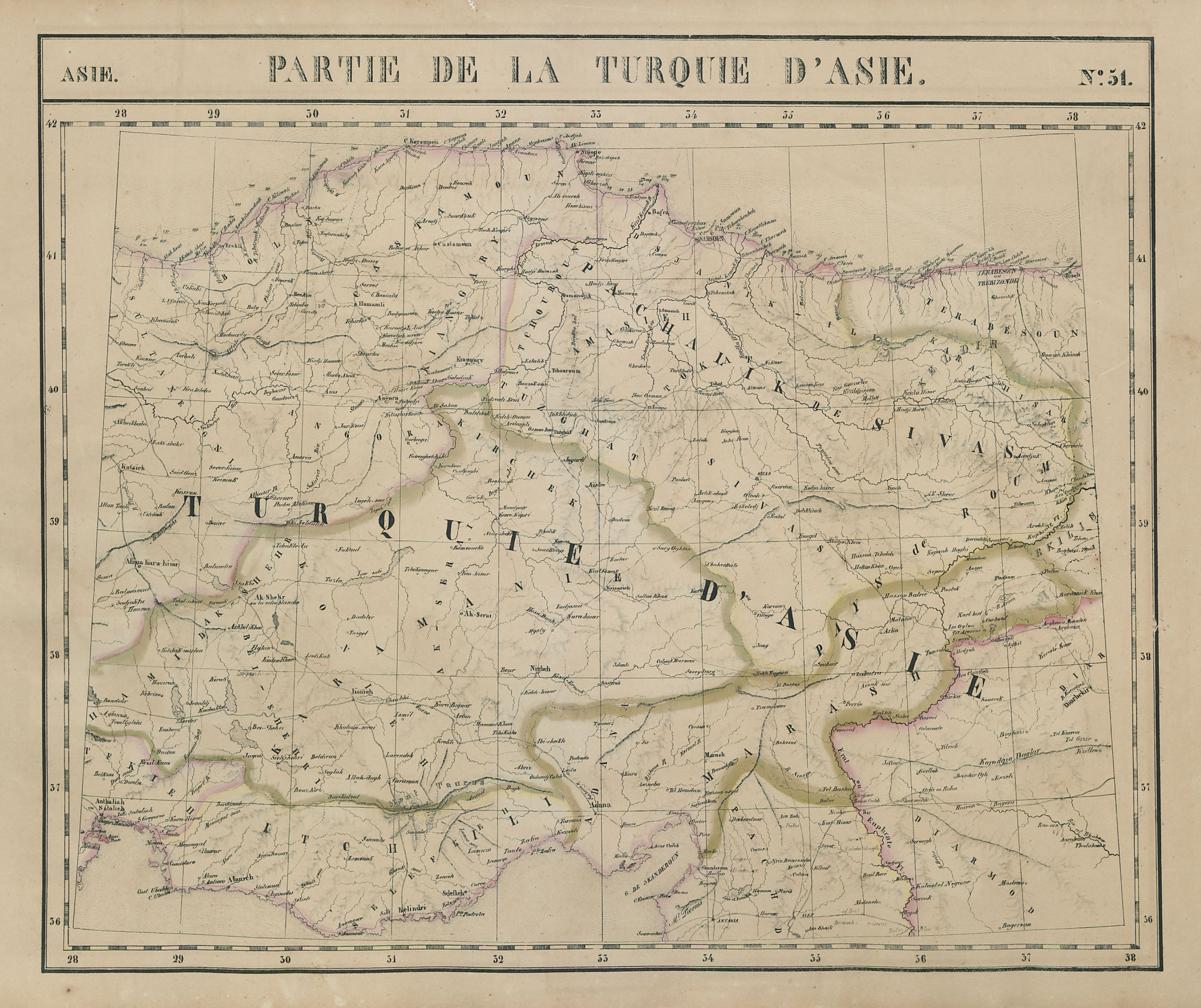 Asie. Partie… Turquie d'Asie #51 Central Turkey. NW Syria. VANDERMAELEN 1827 map