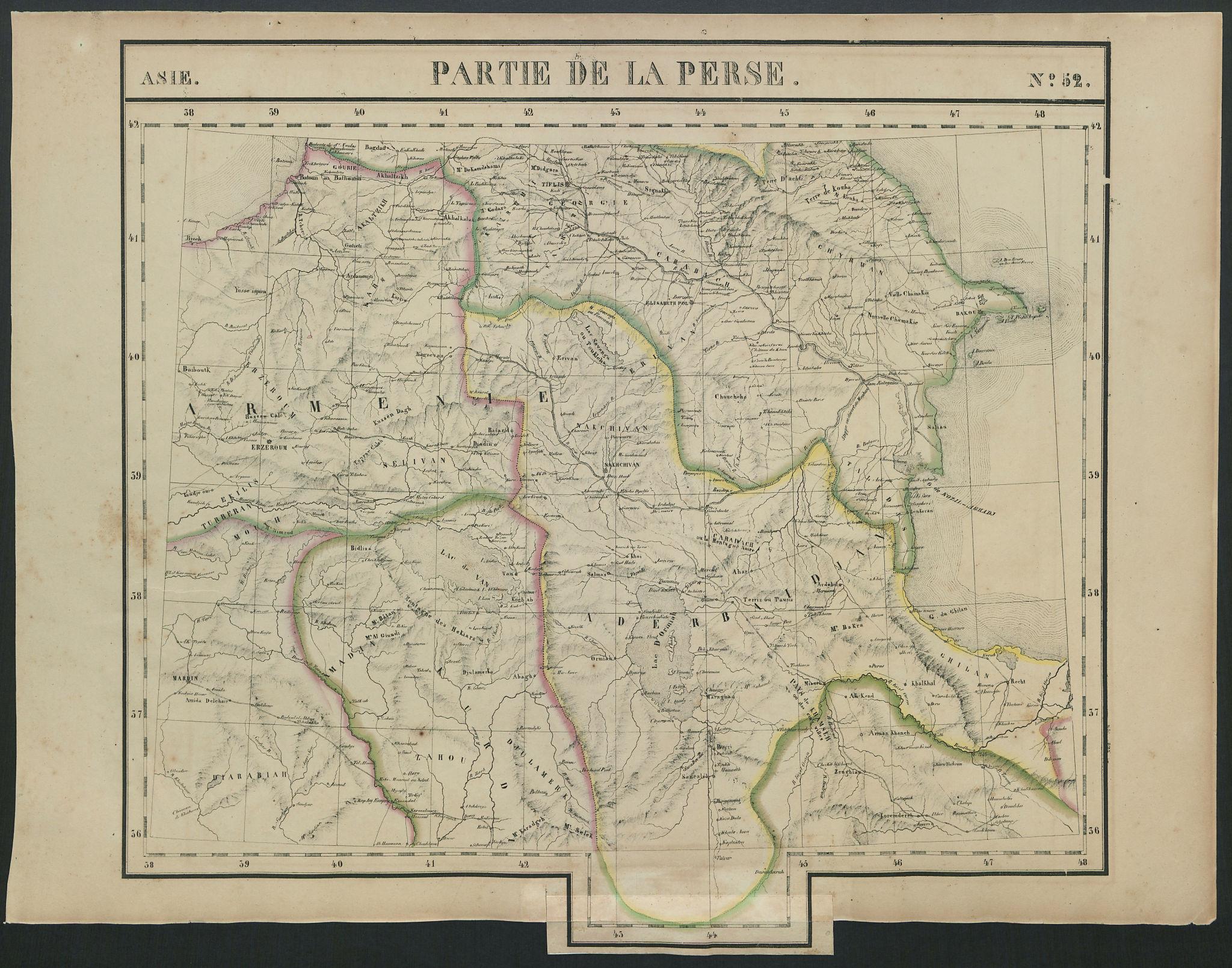 Asie. Partie de la Perse #52 Southern Caucasus Iran Turkey VANDERMAELEN 1827 map