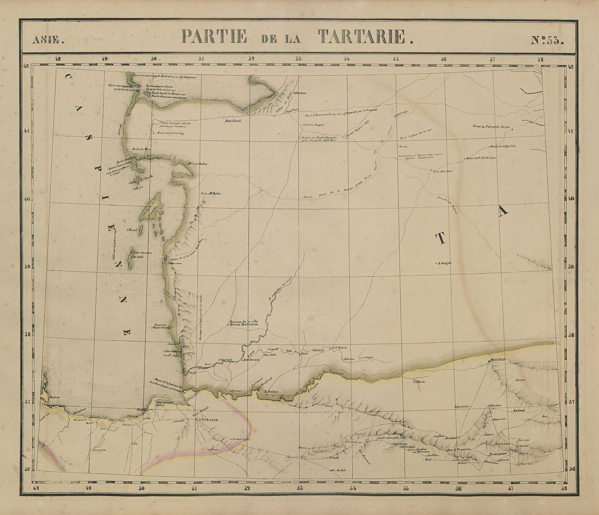 Asie. Tartarie #53 Caspian Sea. Turkmenistan Iran. VANDERMAELEN 1827 old map