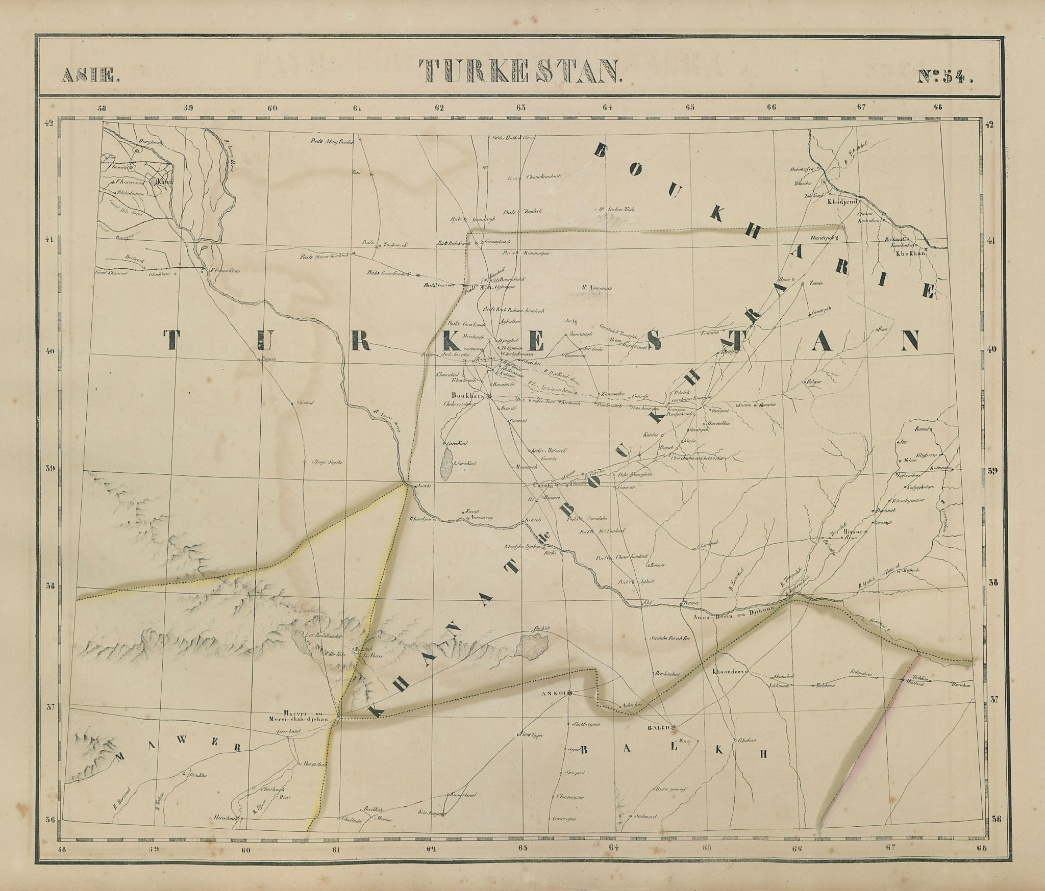 Asie. Turkestan #54 Uzbekistan Turkmenistan Tajikistan. VANDERMAELEN 1827 map