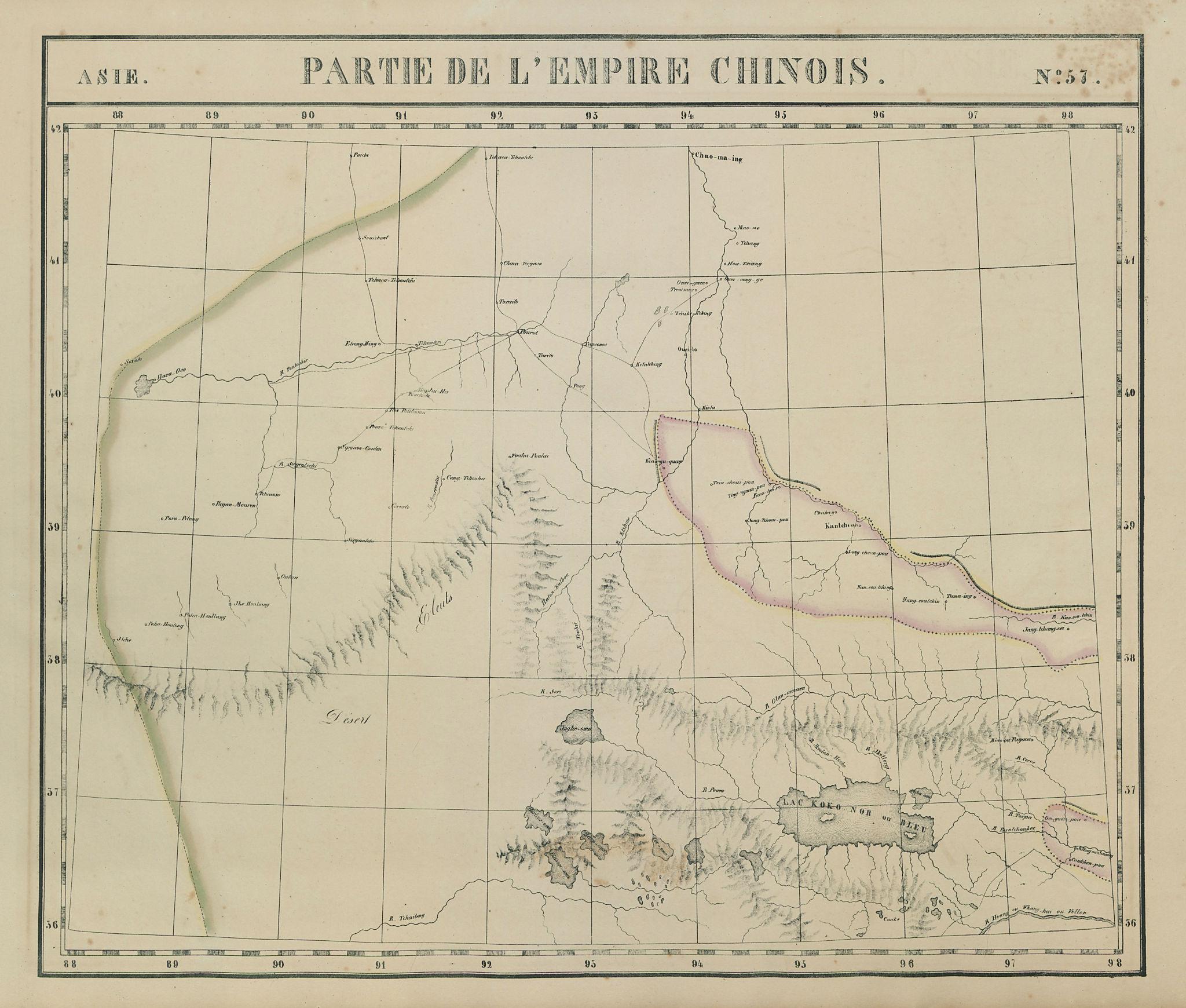 Asie. Empire Chinois #57 Qinghai Gansu Xinjiang China. VANDERMAELEN 1827 map