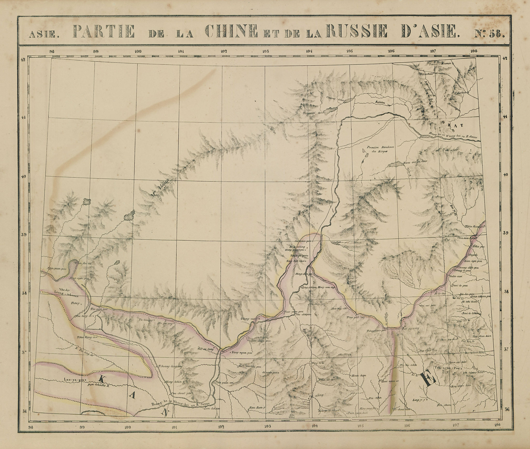 Asie. Chine & Russie d'Asie #58 North-central China. VANDERMAELEN 1827 old map