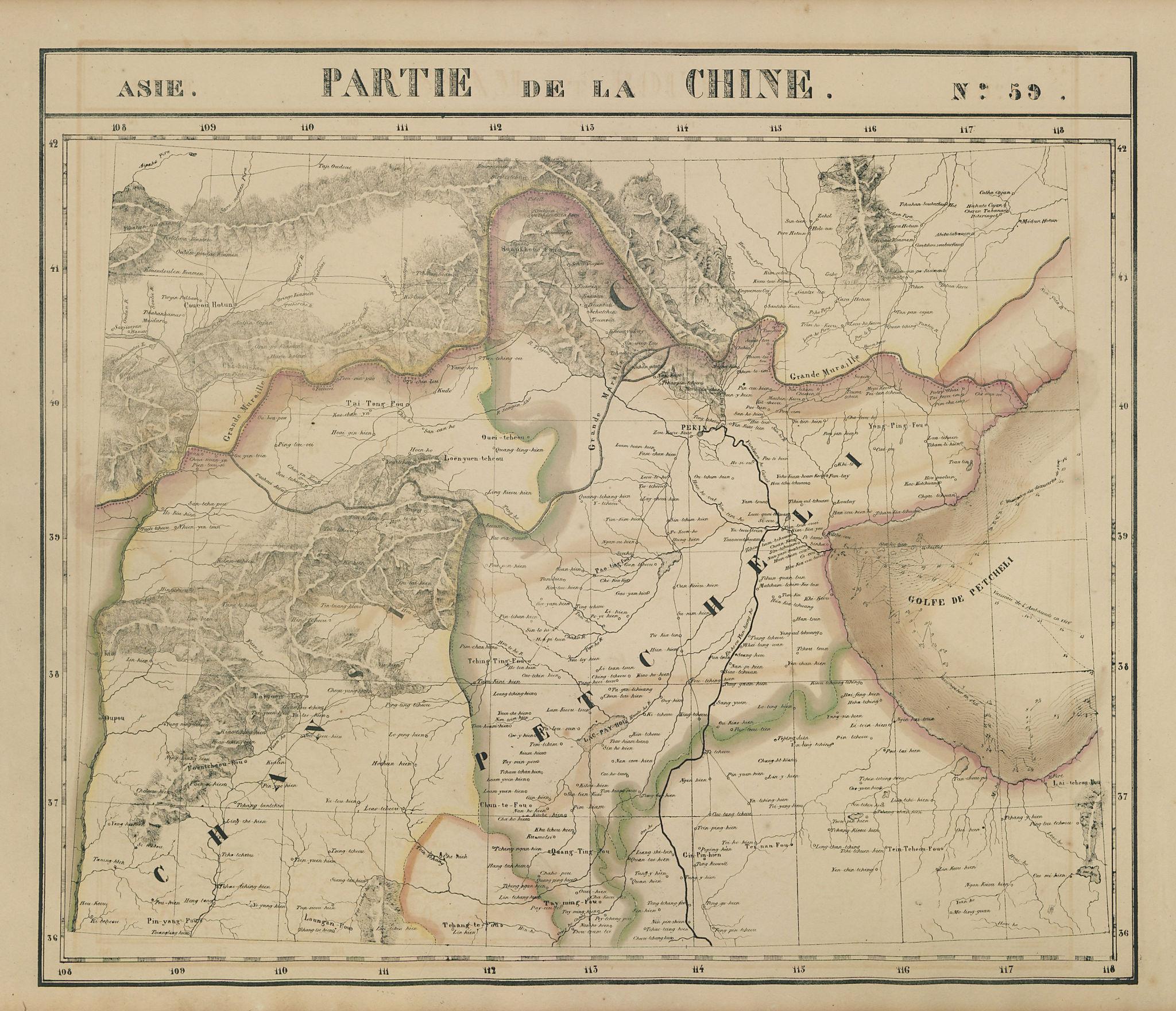 Asie. Partie de la Chine #59 China. Heibei Shanxi Beijing VANDERMAELEN 1827 map