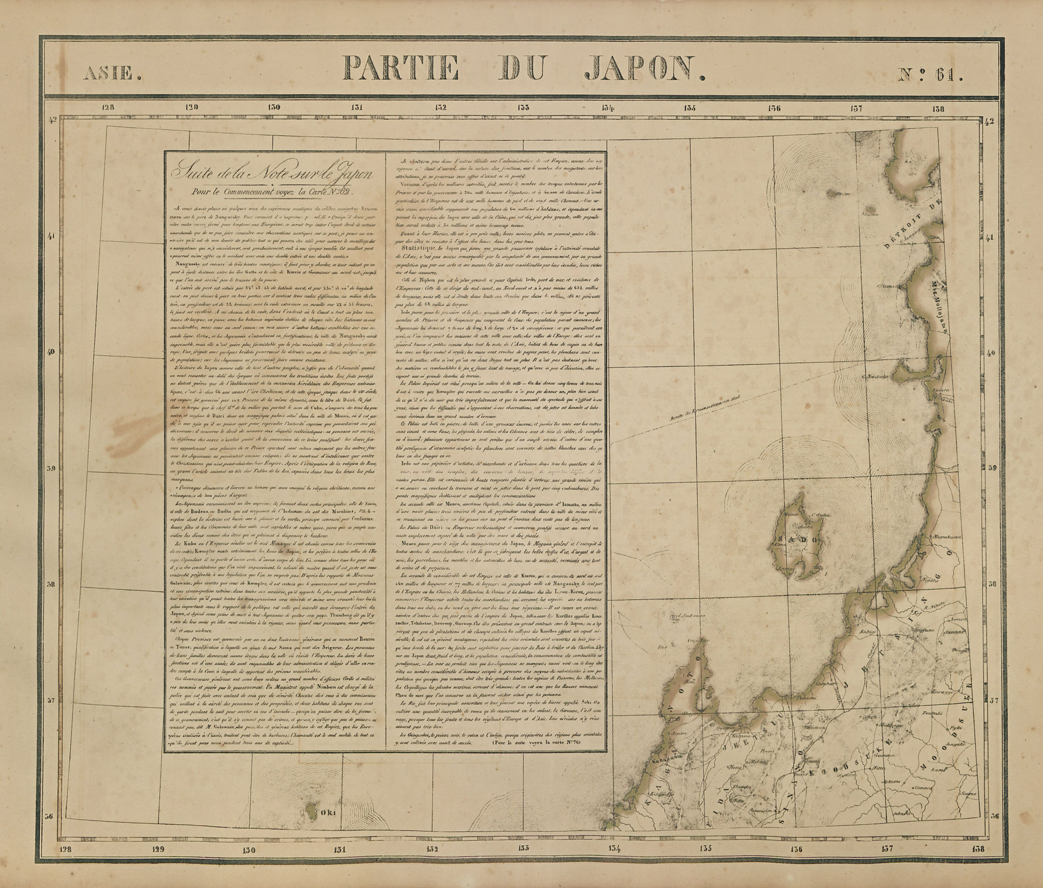 Asie. Partie du Japon #61 Japan. West-central Honshu coast VANDERMAELEN 1827 map