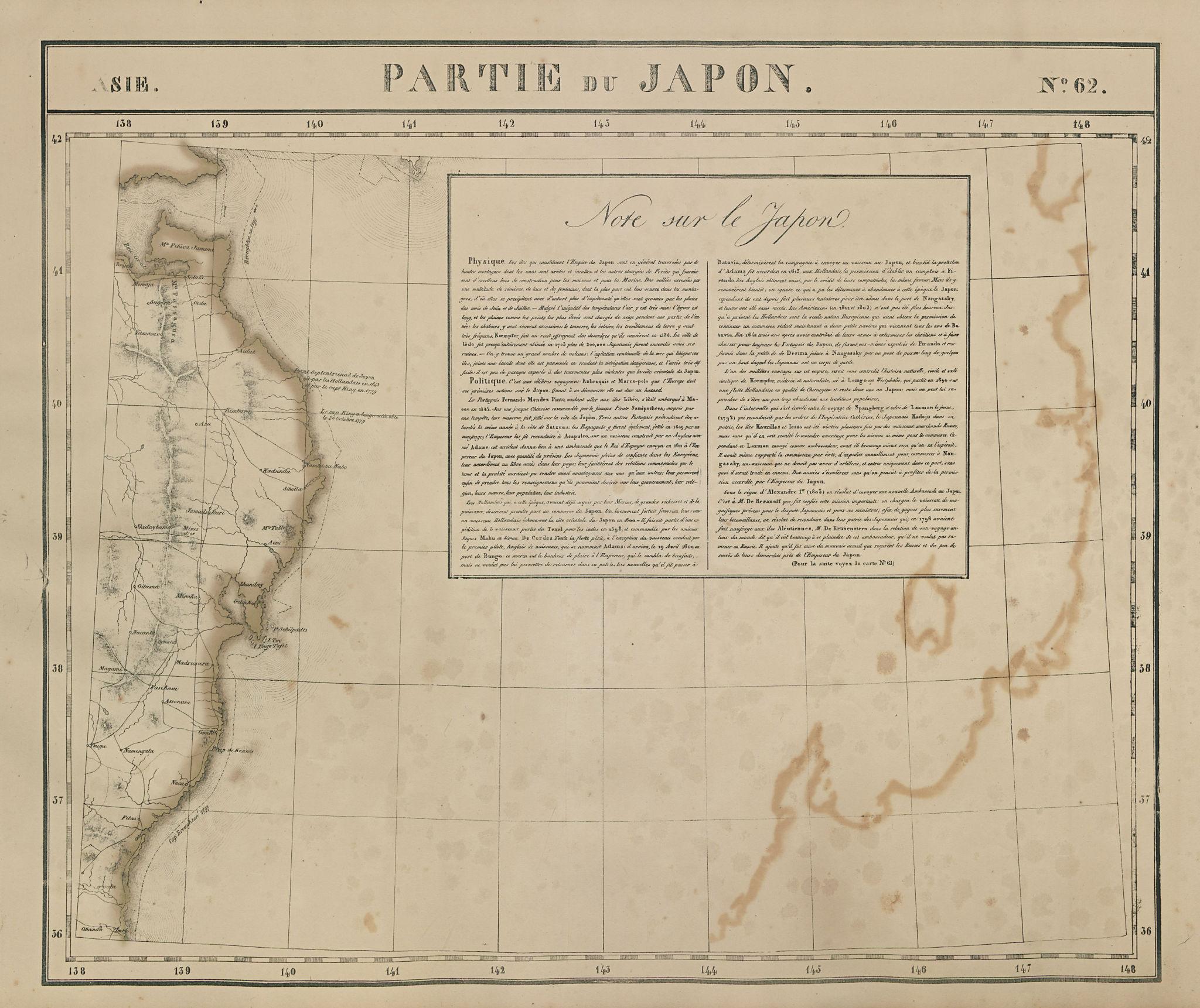 Asie. Partie du Japon #62 Japan. East-central Honshu coast VANDERMAELEN 1827 map