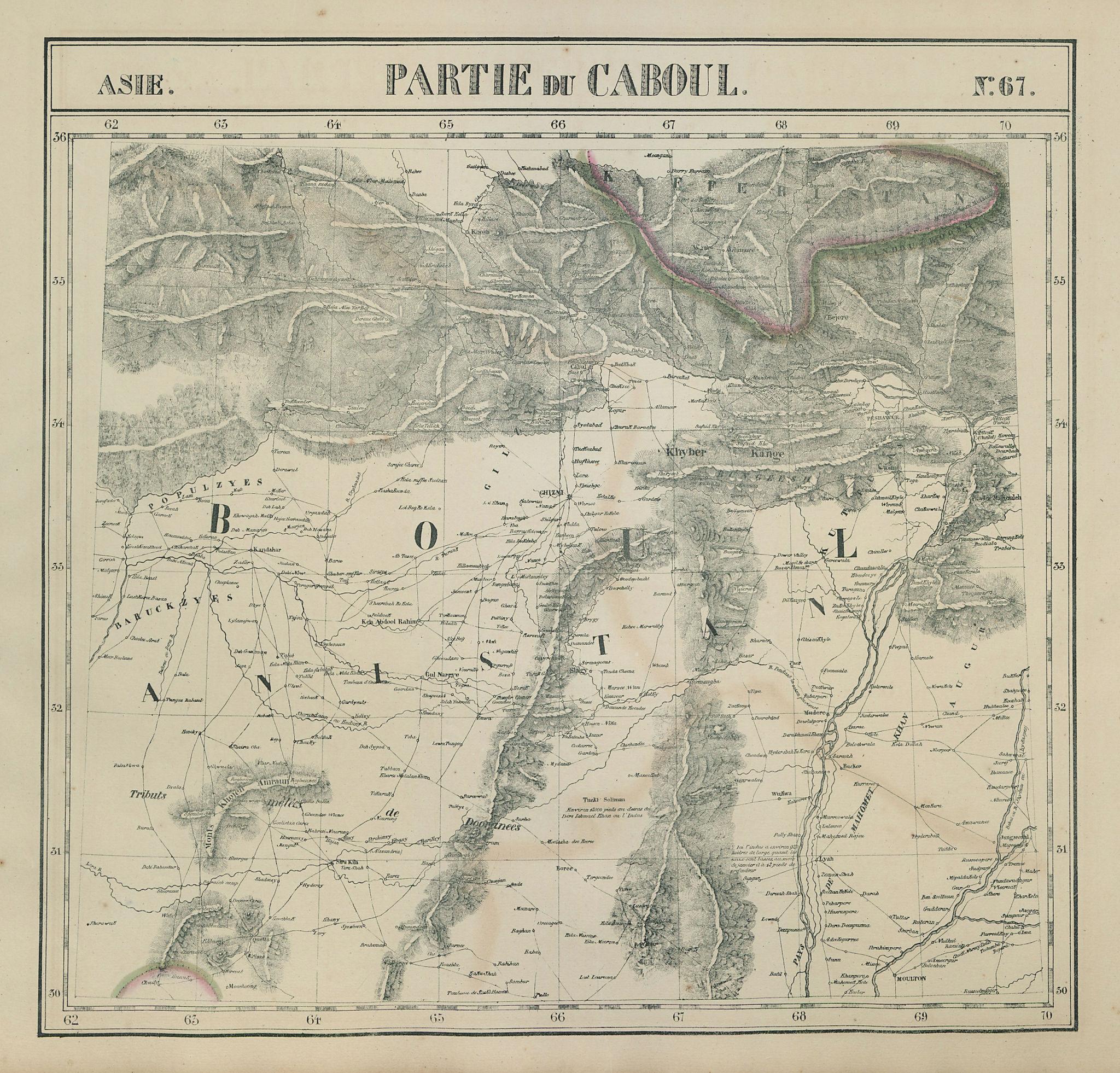 Asie. Partie du Caboul #67 East Afghanistan. West Pakistan VANDERMAELEN 1827 map