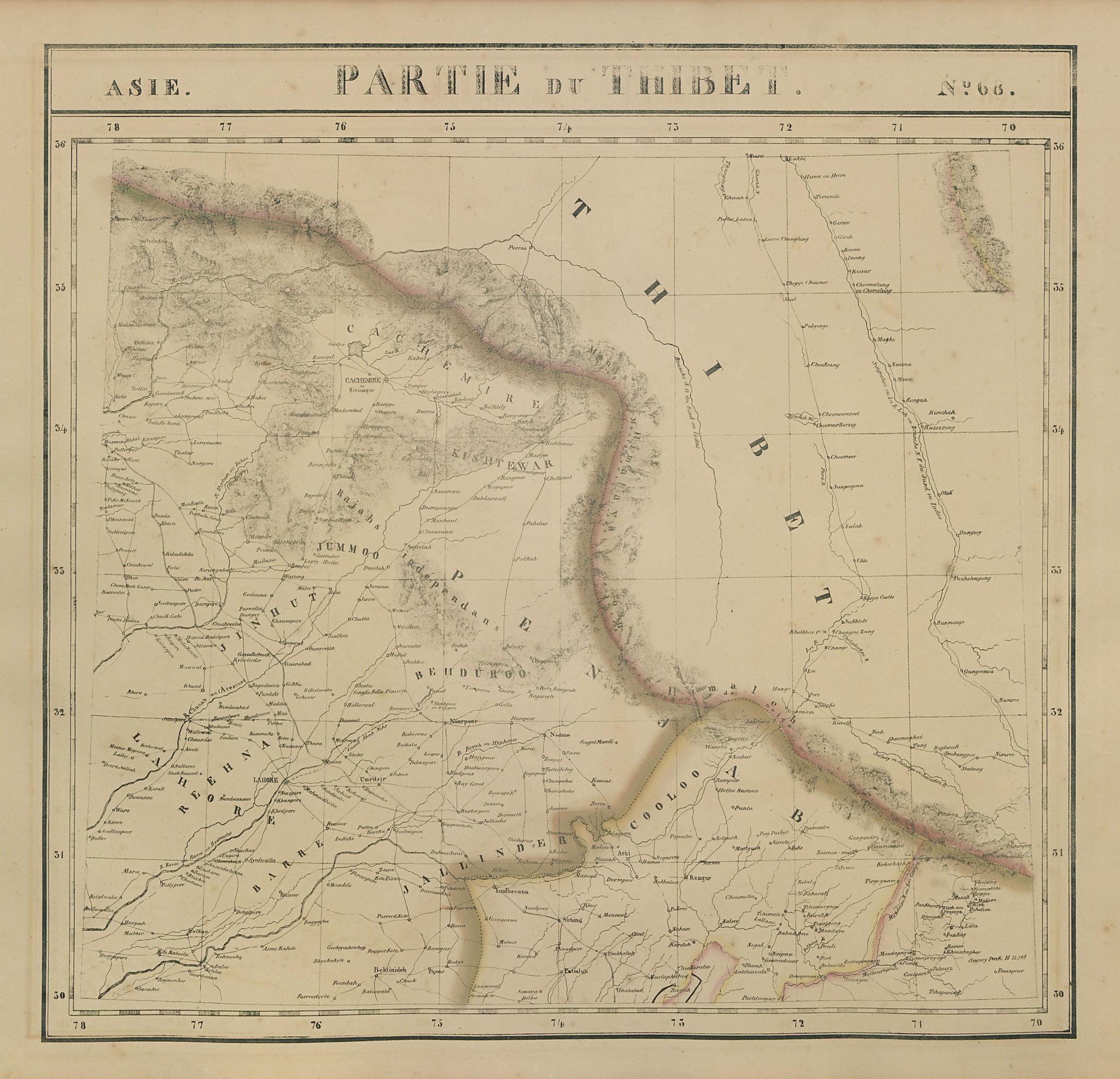 Asie. Partie du Thibet #68 Northern Pakistan & India. VANDERMAELEN 1827 map