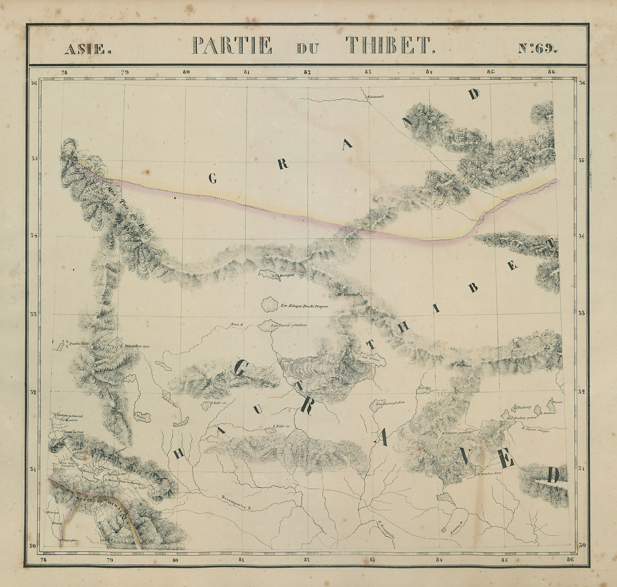 Asie. Thibet #69 Western Tibet. Southern Xinjiang China. VANDERMAELEN 1827 map