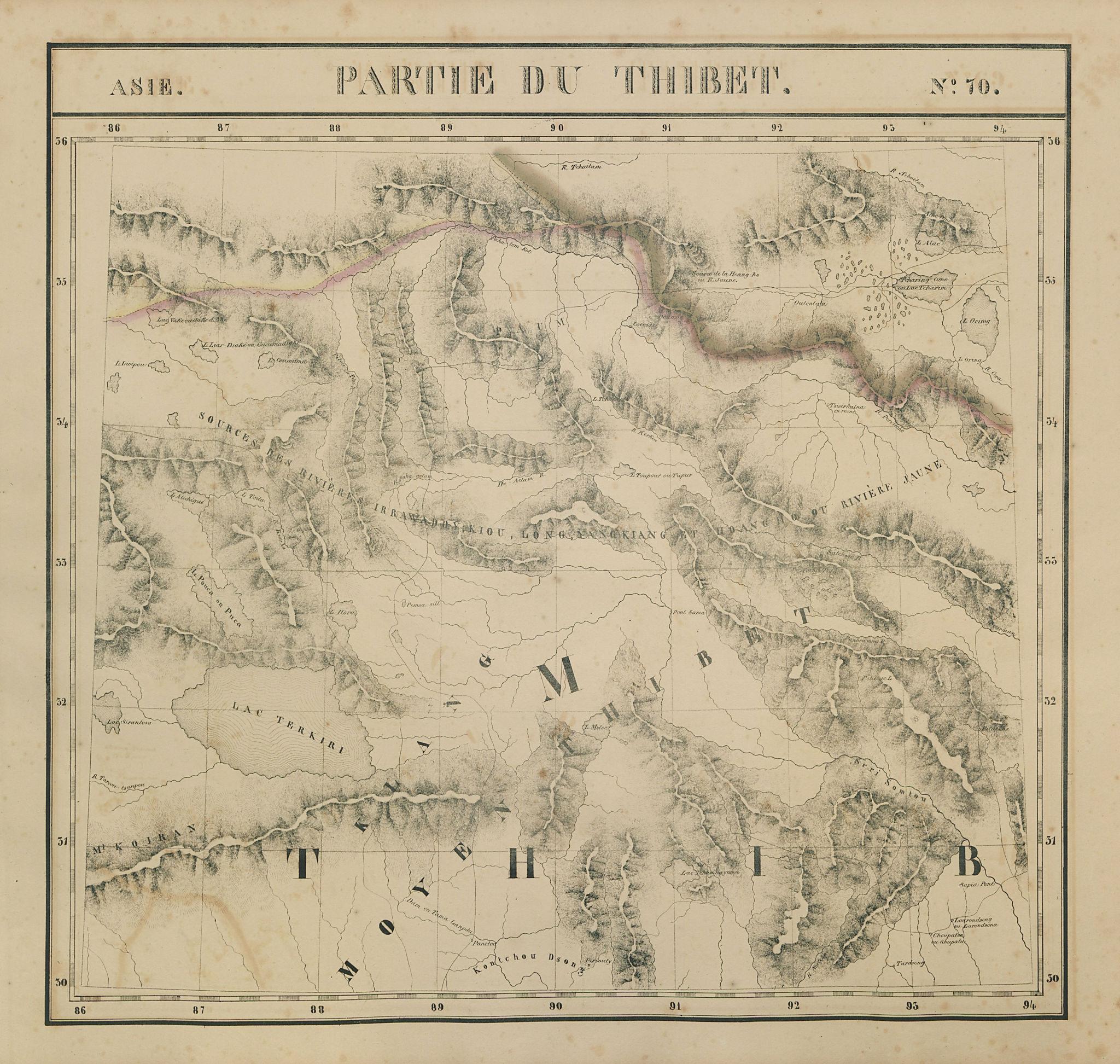 Asie. Partie du Thibet #70 NE Tibet & SW Qinghai. China. VANDERMAELEN 1827 map