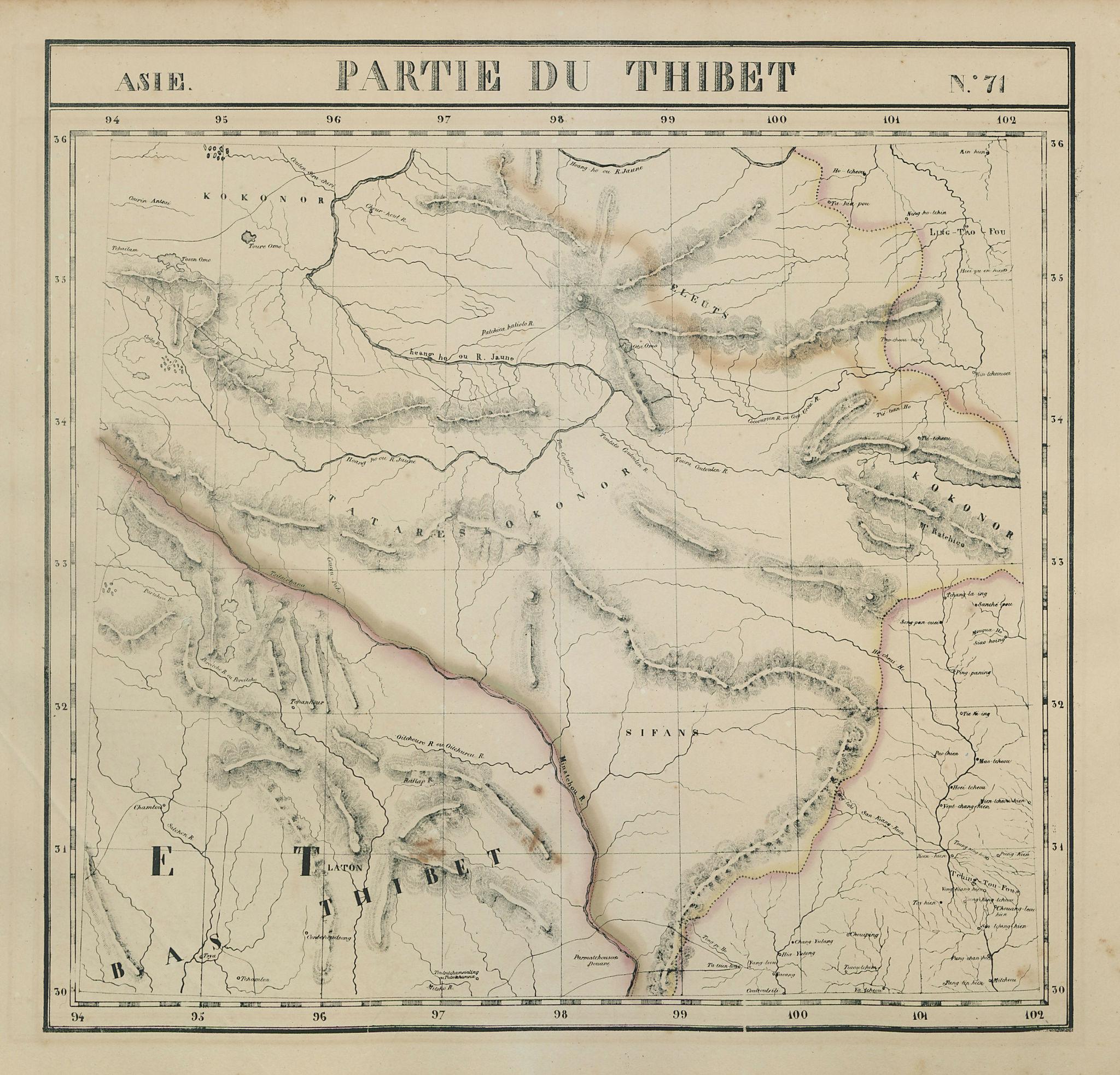 Asie. Thibet #71 Gansu Sichuan Qinghai Tibet China. VANDERMAELEN 1827 old map