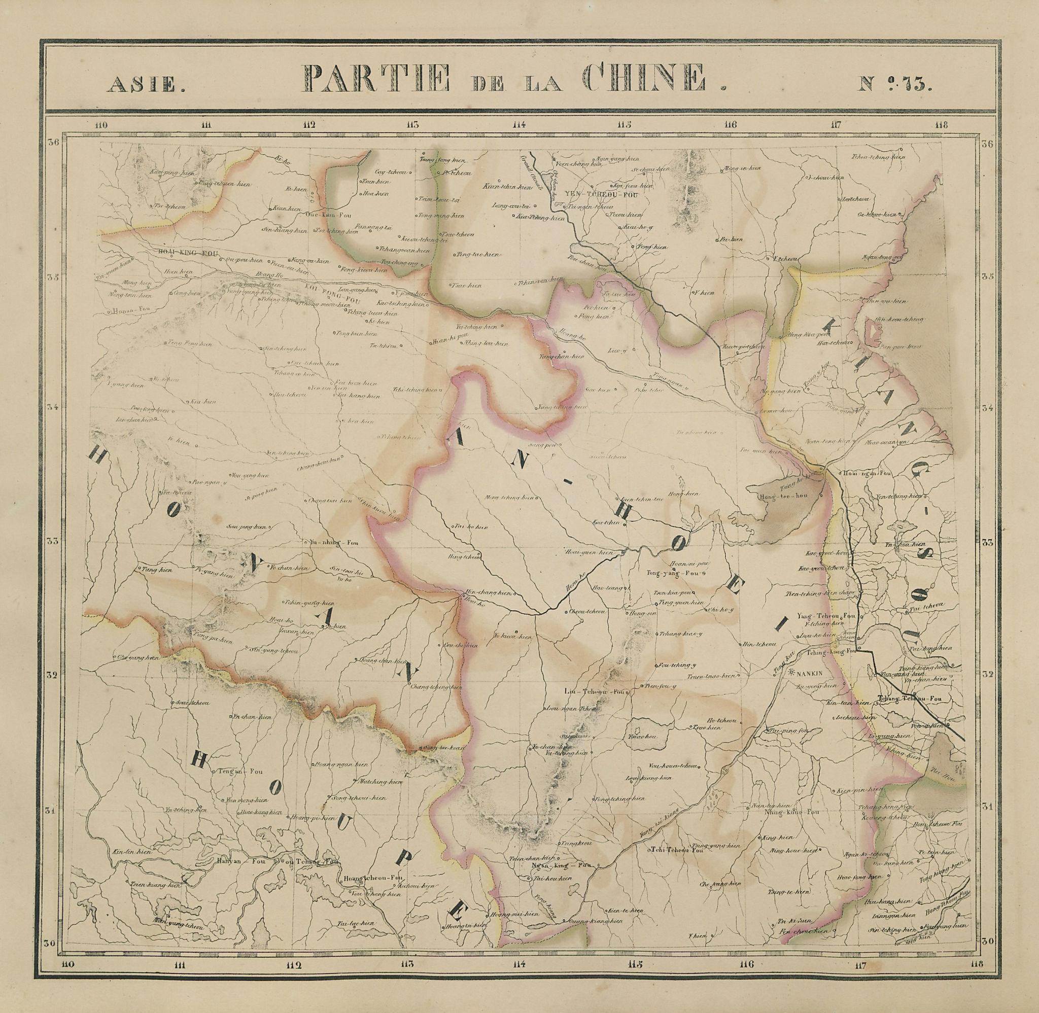 Asie. Partie… Chine #73 China Hubei Heinan Anhui Jiangsu. VANDERMAELEN 1827 map