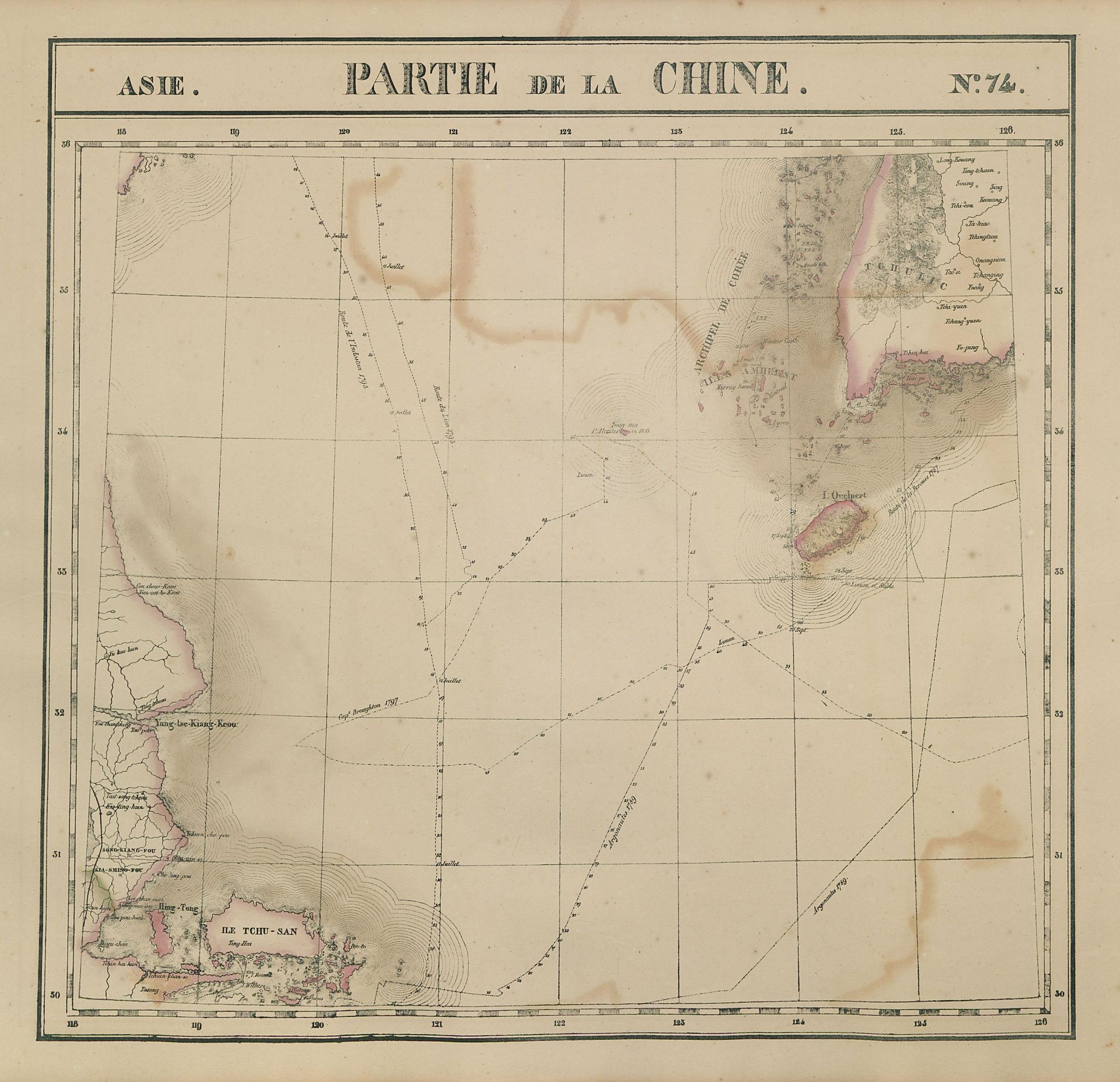 Asie. Chine #74 China Jiangsu Zhejiang. SW Korea. VANDERMAELEN 1827 old map