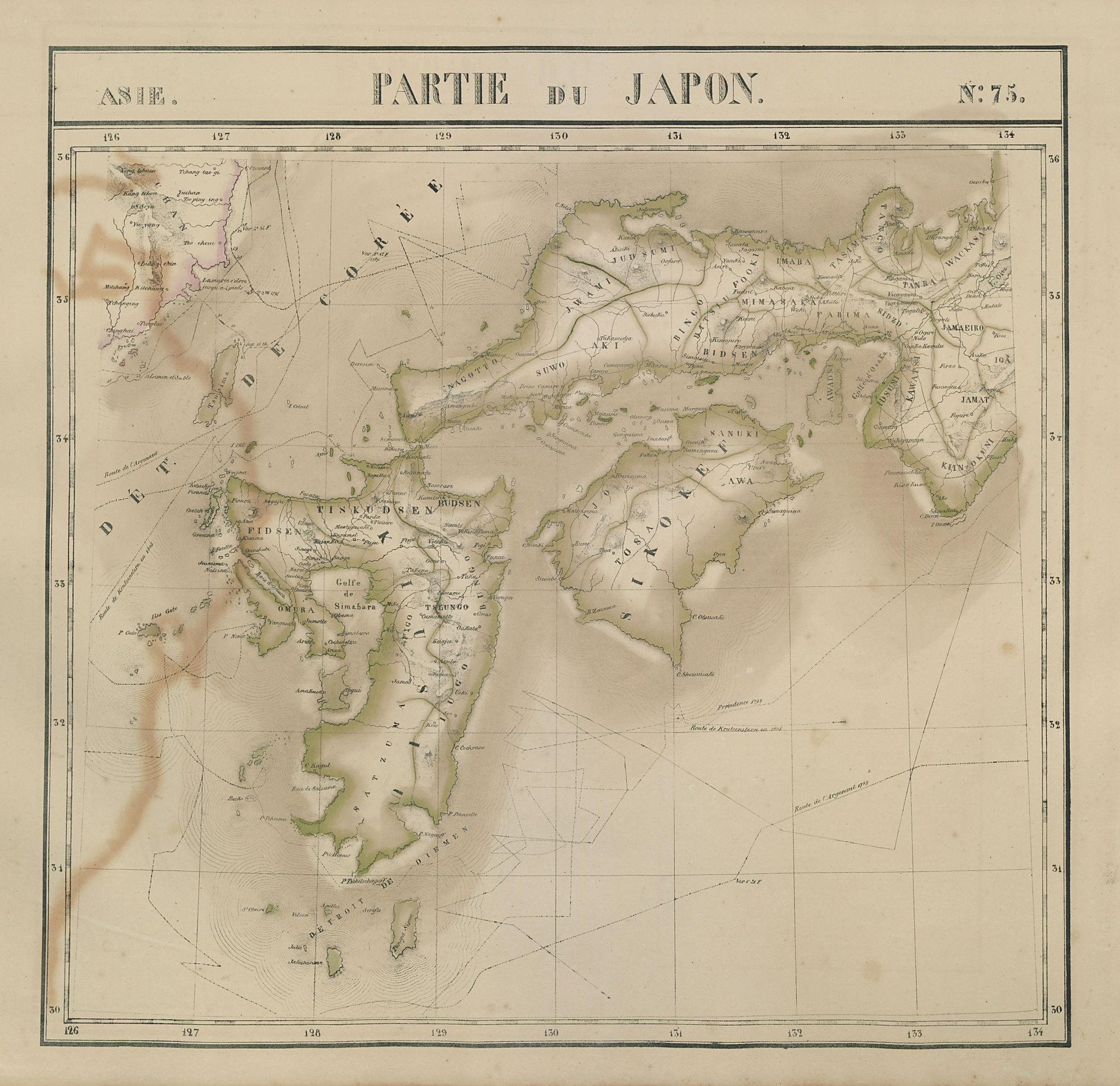 Asie. Japon #75 SW Japan Kyushu Shikoku Chugoku Korea VANDERMAELEN 1827 map