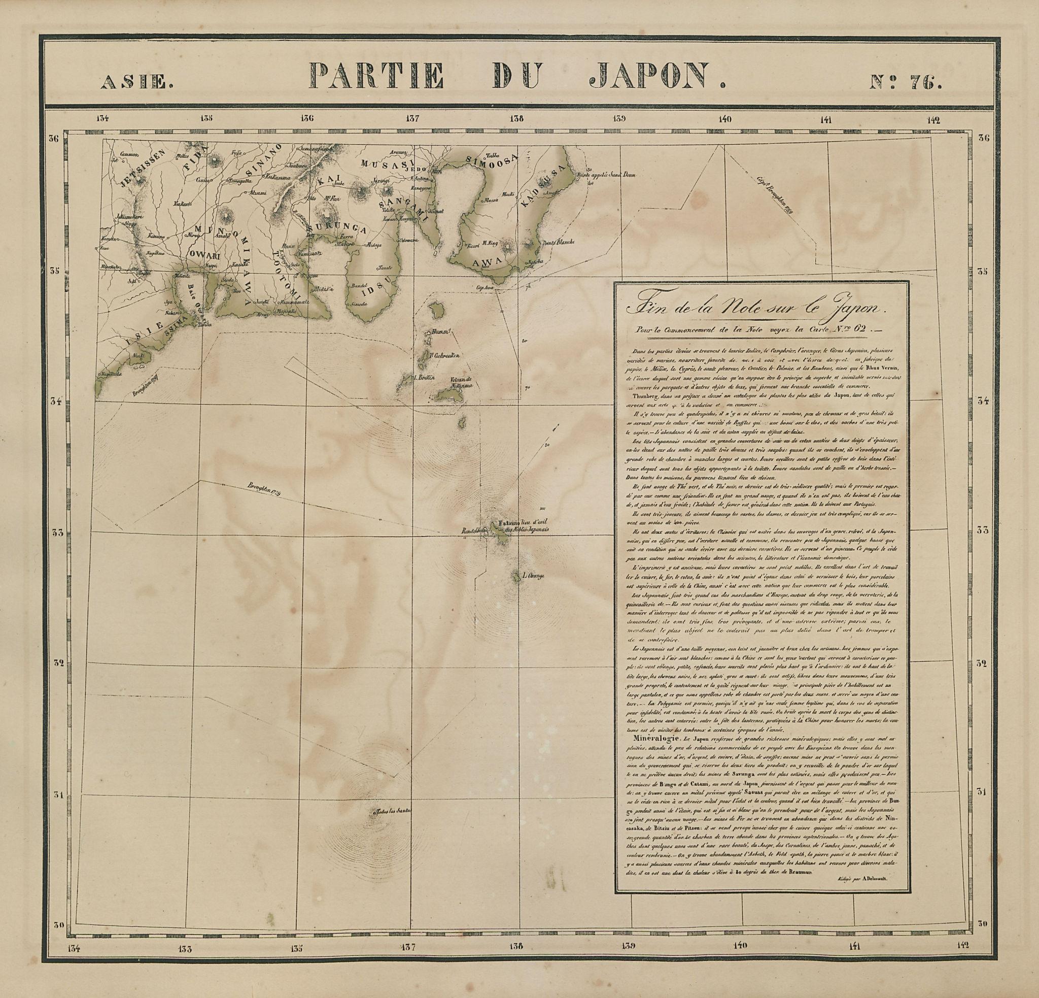 Asie. Partie du Japon #76 Honshu, Japan. Chubu & Kanto. VANDERMAELEN 1827 map