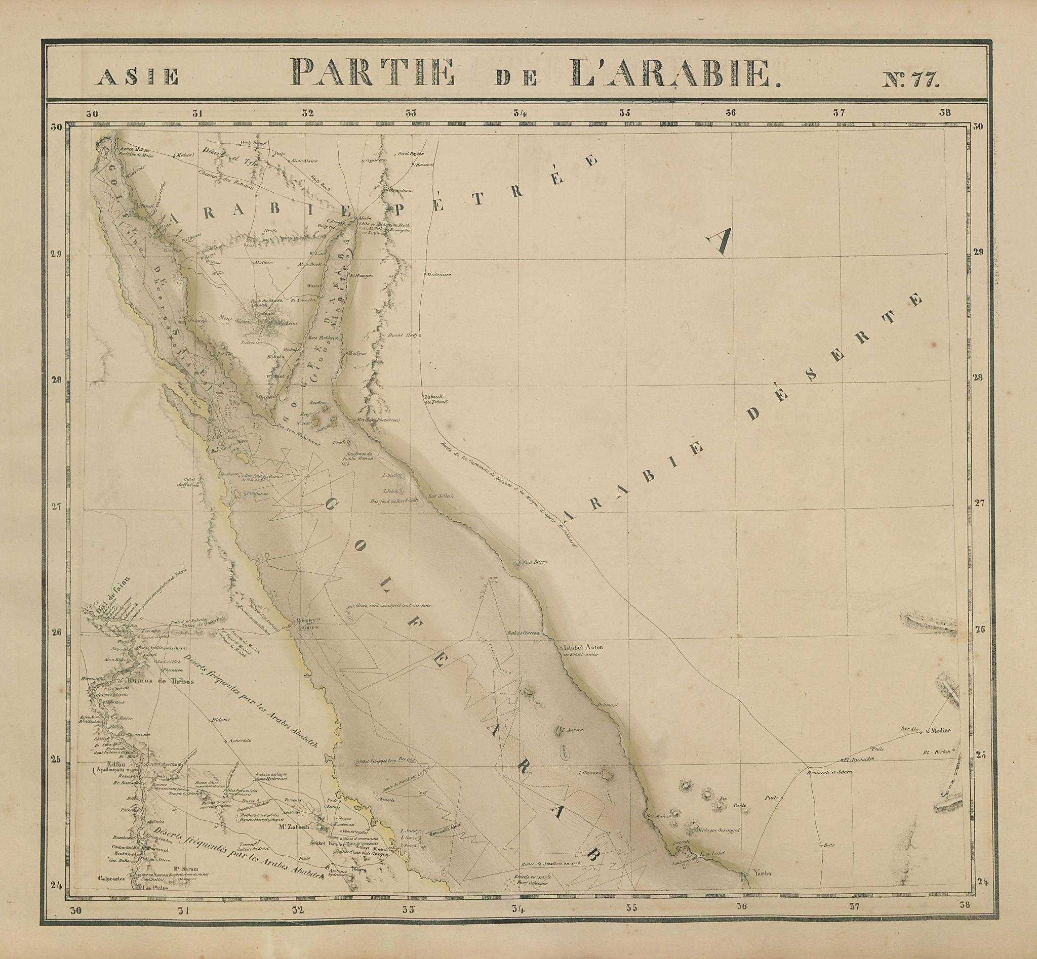 Asie. Arabie #77 Red Sea Aqaba Egypt Saudi Arabia Jordan VANDERMAELEN 1827 map