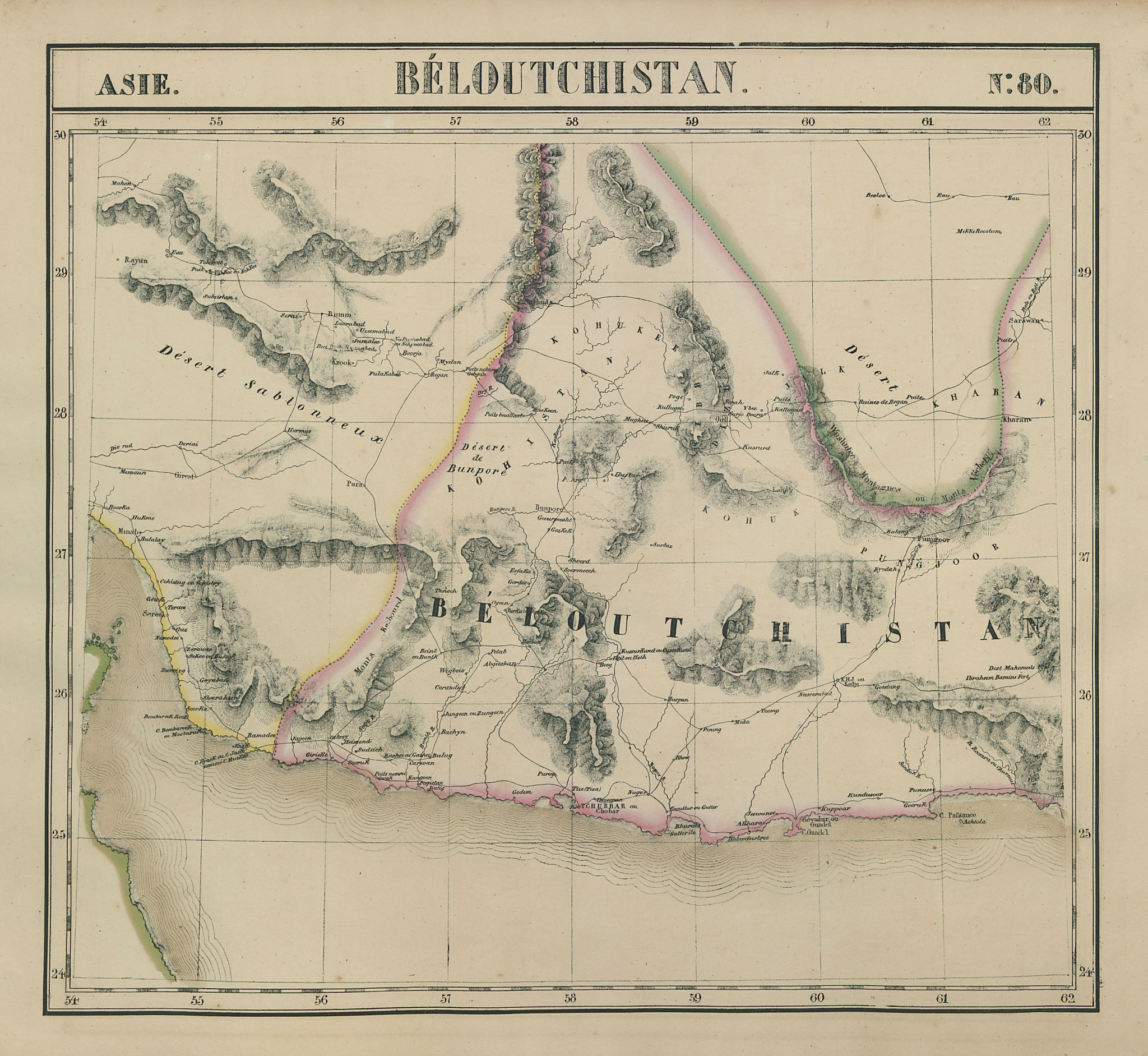 Asie. Béloutchistan #80 Balochistan. SE Iran. SW Pakistan VANDERMAELEN 1827 map