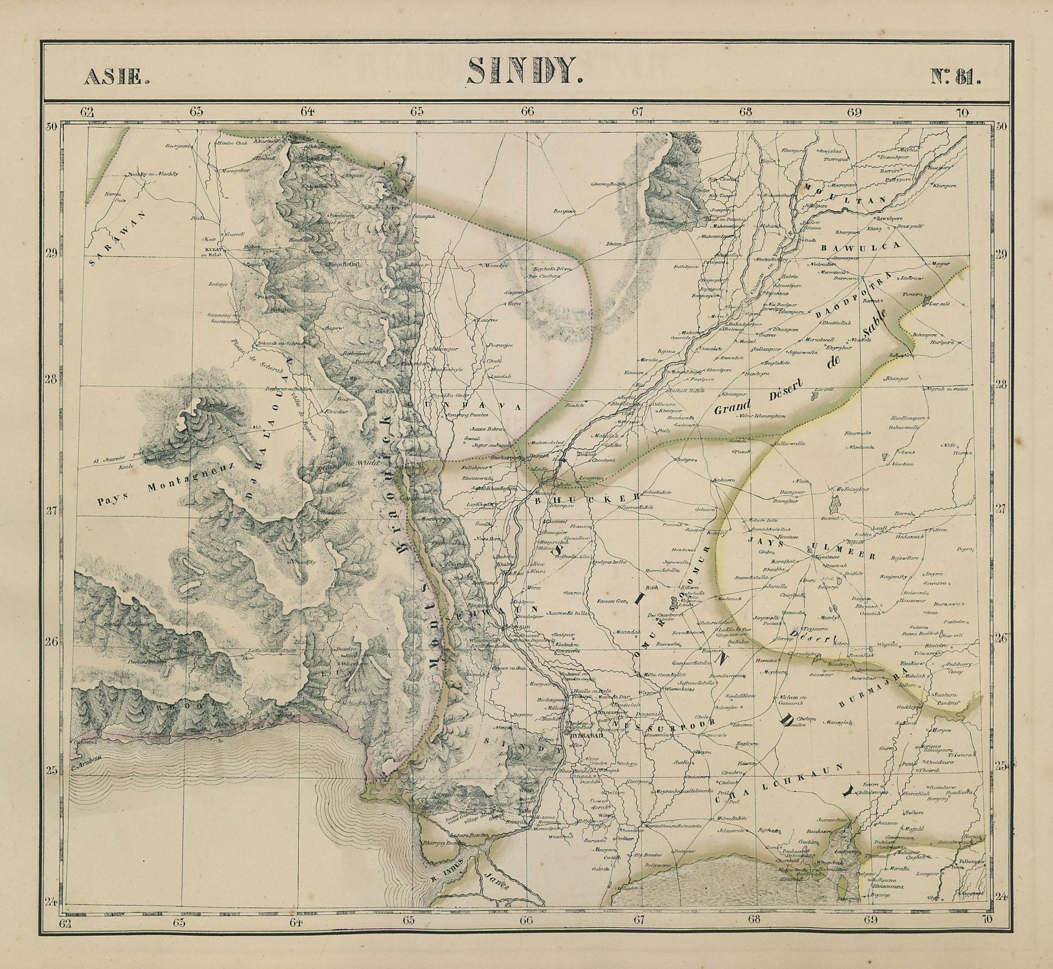 Asie. Sindy #81 SE Pakistan. Western Rajasthan. India VANDERMAELEN 1827 map