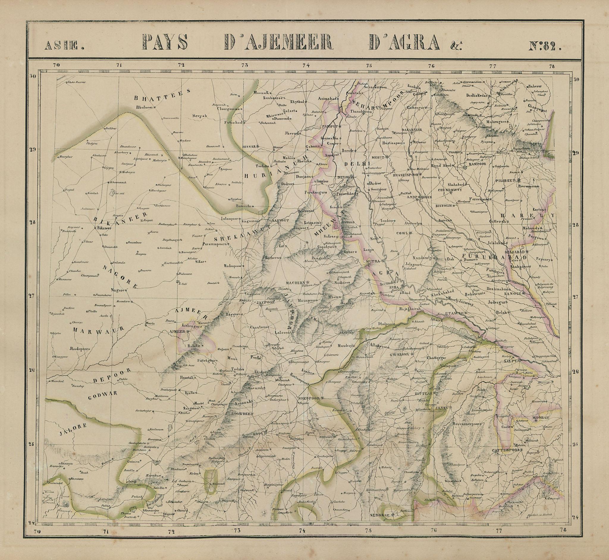 Asie. Pays Ajemeer Agra #82 North India Rajasthan Pakistan VANDERMAELEN 1827 map