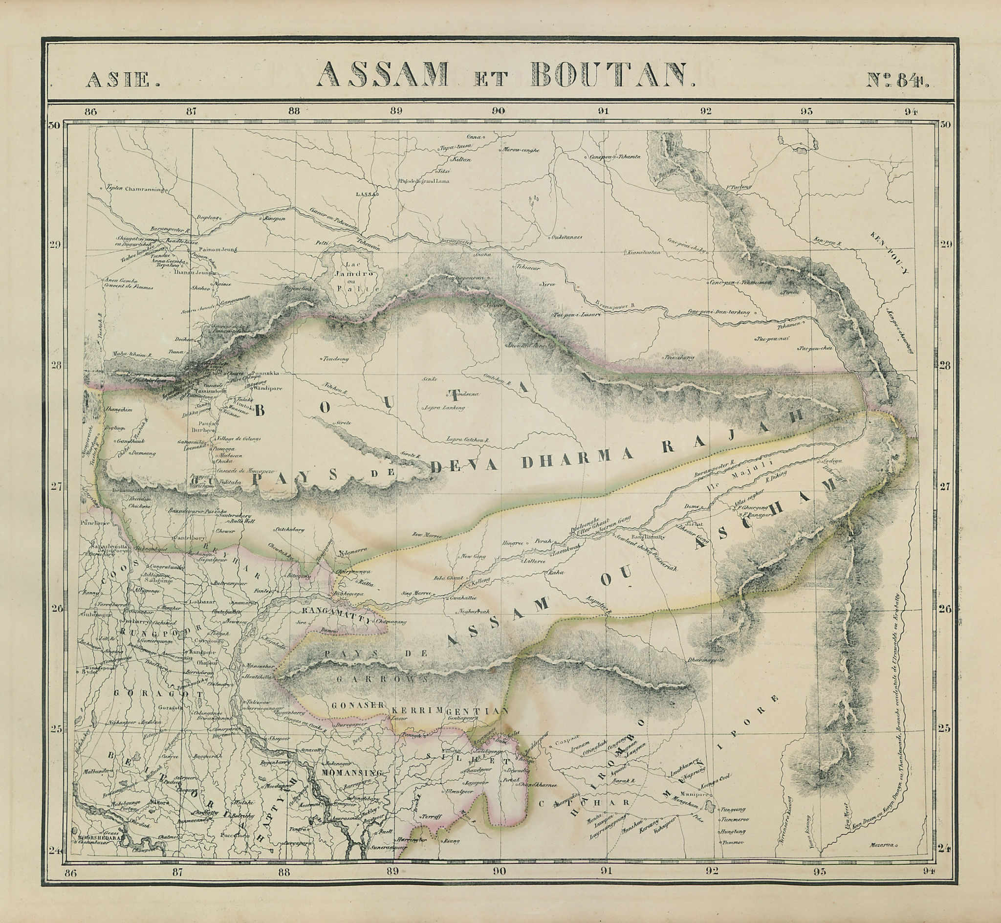 Asie. Assam et Boutan #84 NE India Bhutan Tibet Bangladesh VANDERMAELEN 1827 map