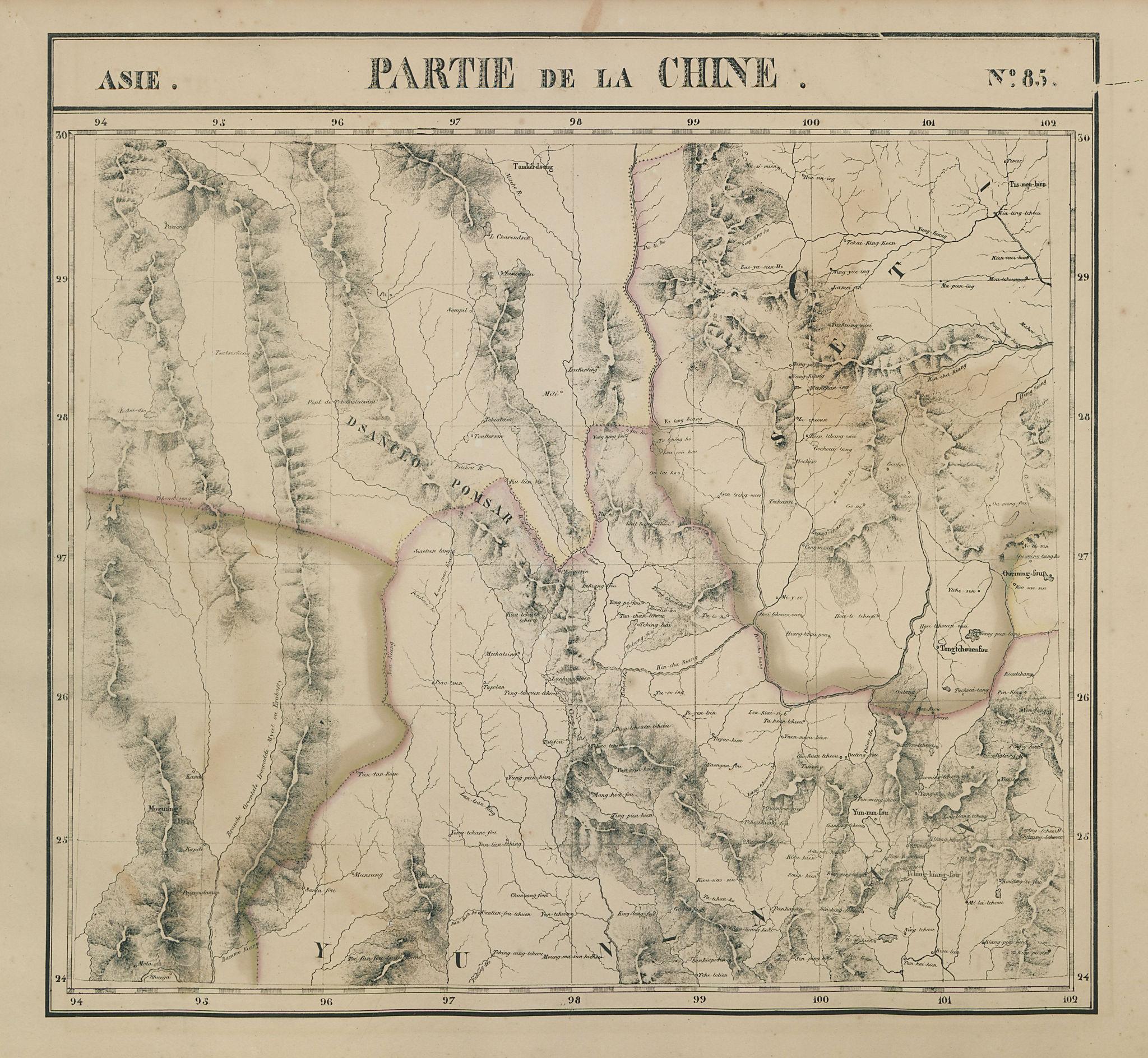 Asie. Partie… Chine #85 Burma Tibet Sichuan Yunnan China. VANDERMAELEN 1827 map